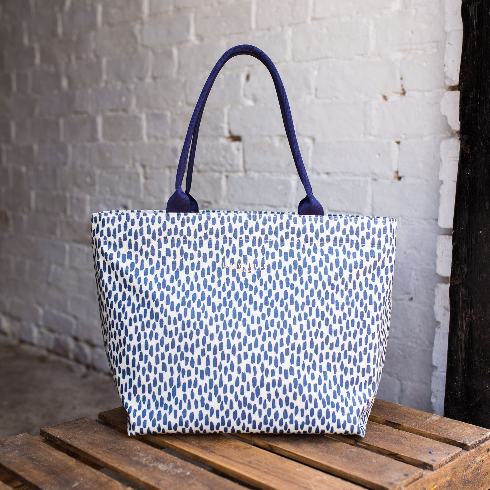 Navy Cobblestone Medium Tote Bag with Navy Handles