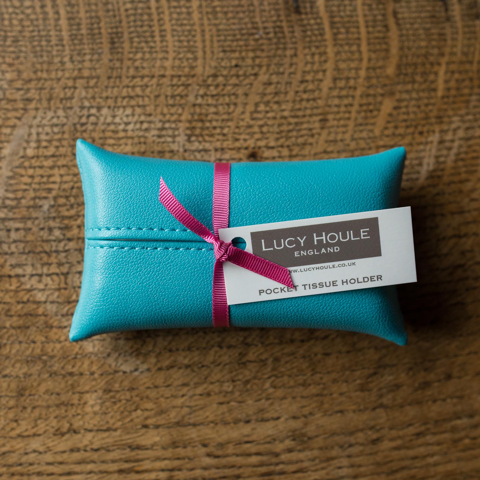 Faux Leather Turquoise Pocket Tissue Holder