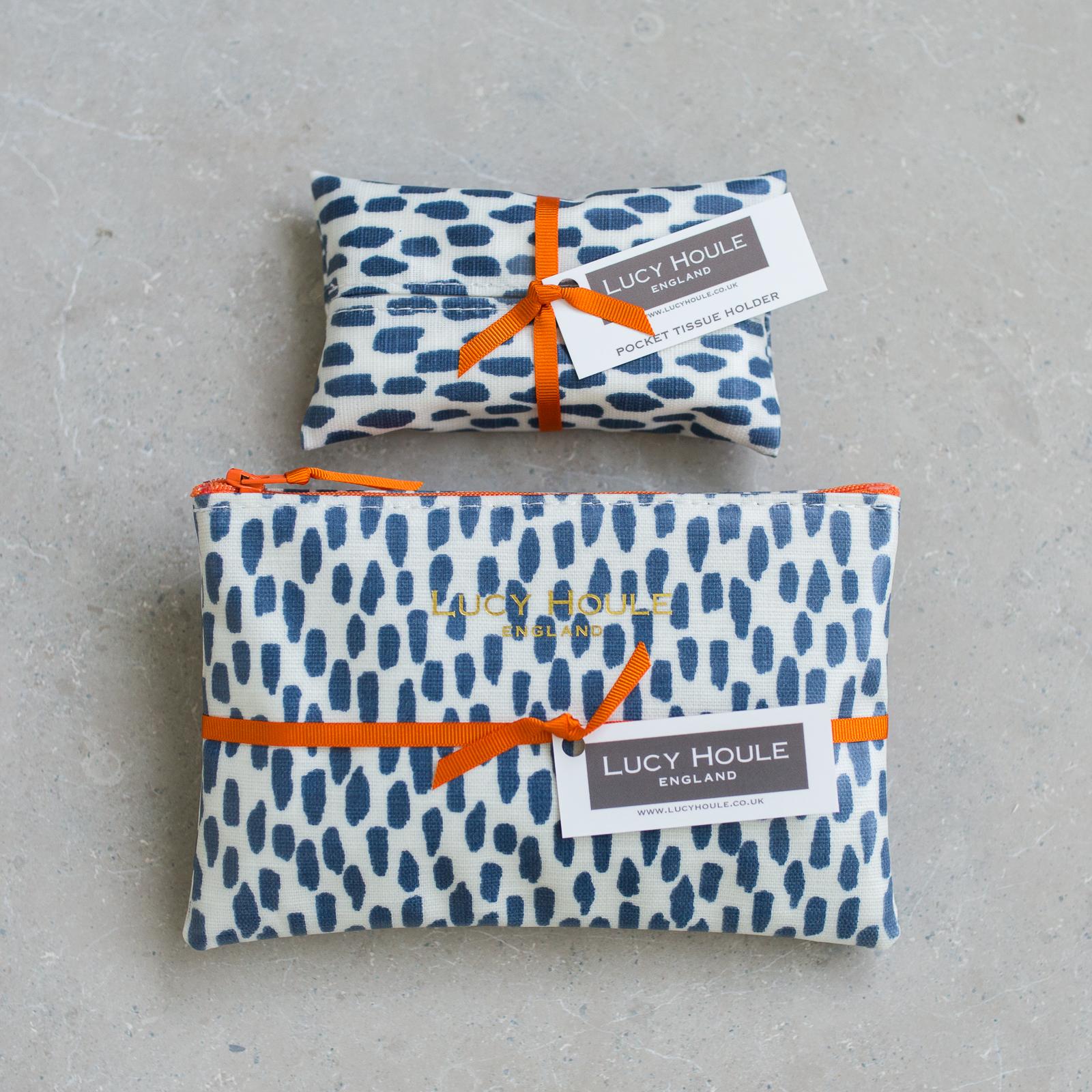 Navy Cobblestone Handbag Set Orange Zip