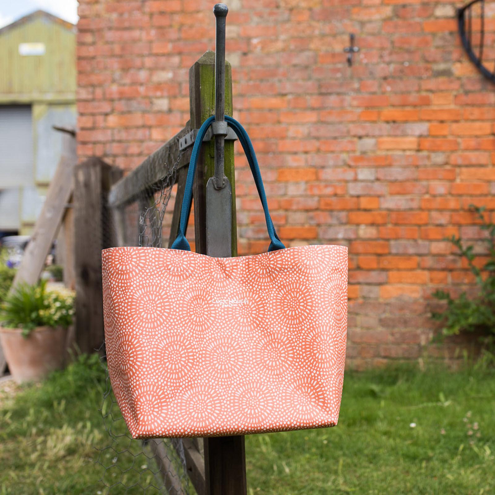 Amber Sunburst Medium Zip Tote Bag with Teal Handles