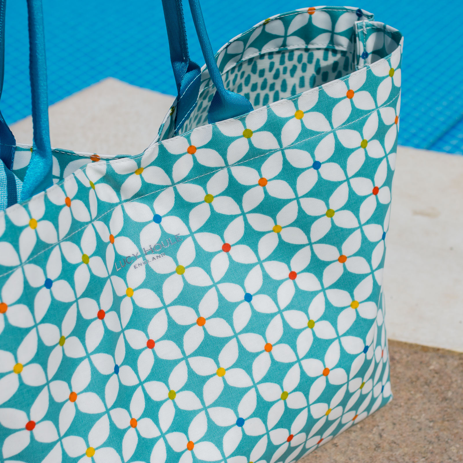 Modern Daisy Aqua Extra Large Bag