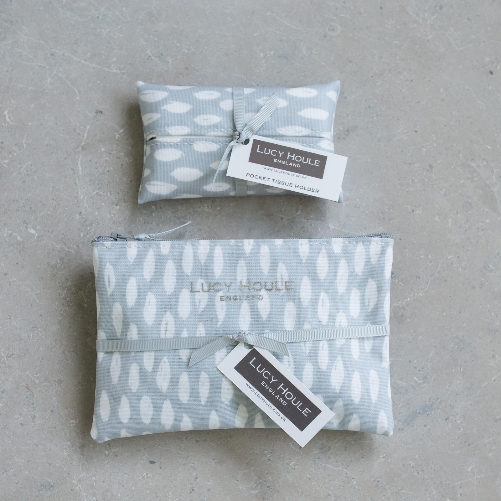 Grey Feather Handbag Set Grey Zip