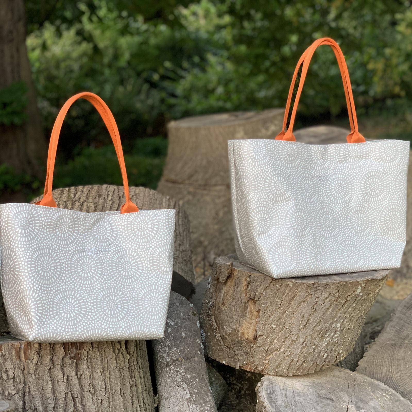 Stone Sunburst Medium Tote Bag with Orange Handles