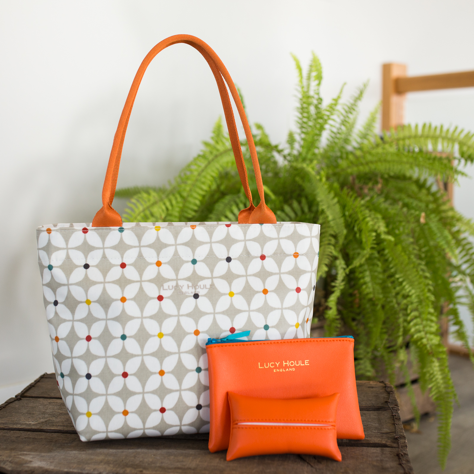 Modern Daisy Taupe Small Zip Tote Bag with Orange Handles