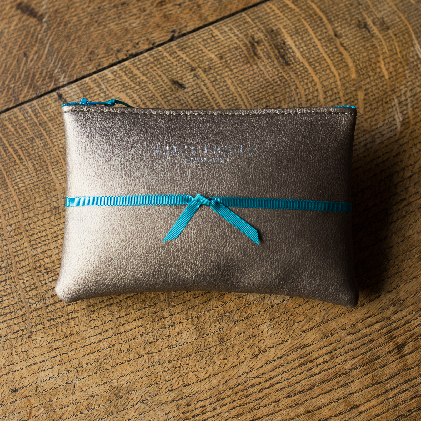 Faux Leather Bronze Purse with Turquoise Zip