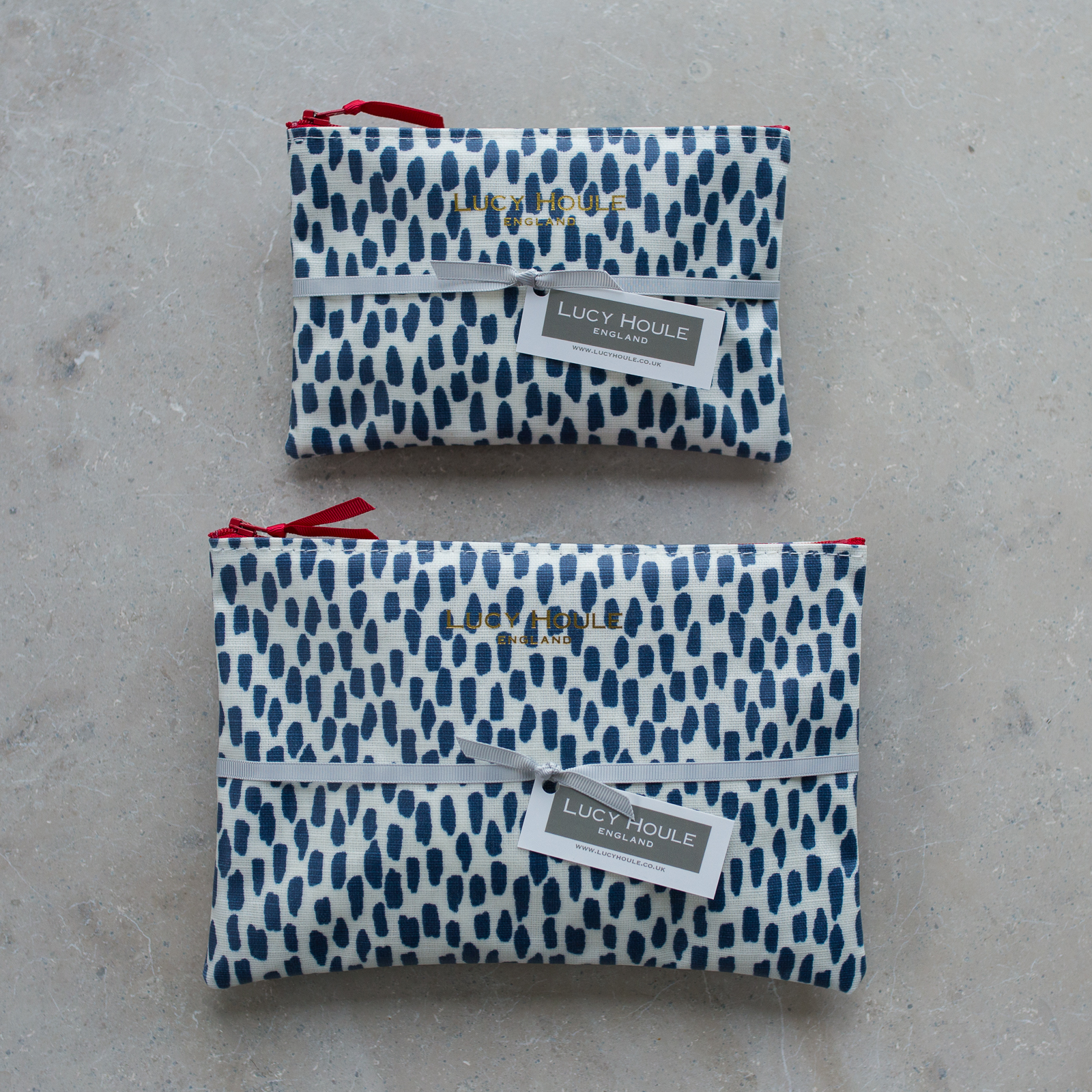 Navy Cobblestone Make-Up Bag with Red Zip