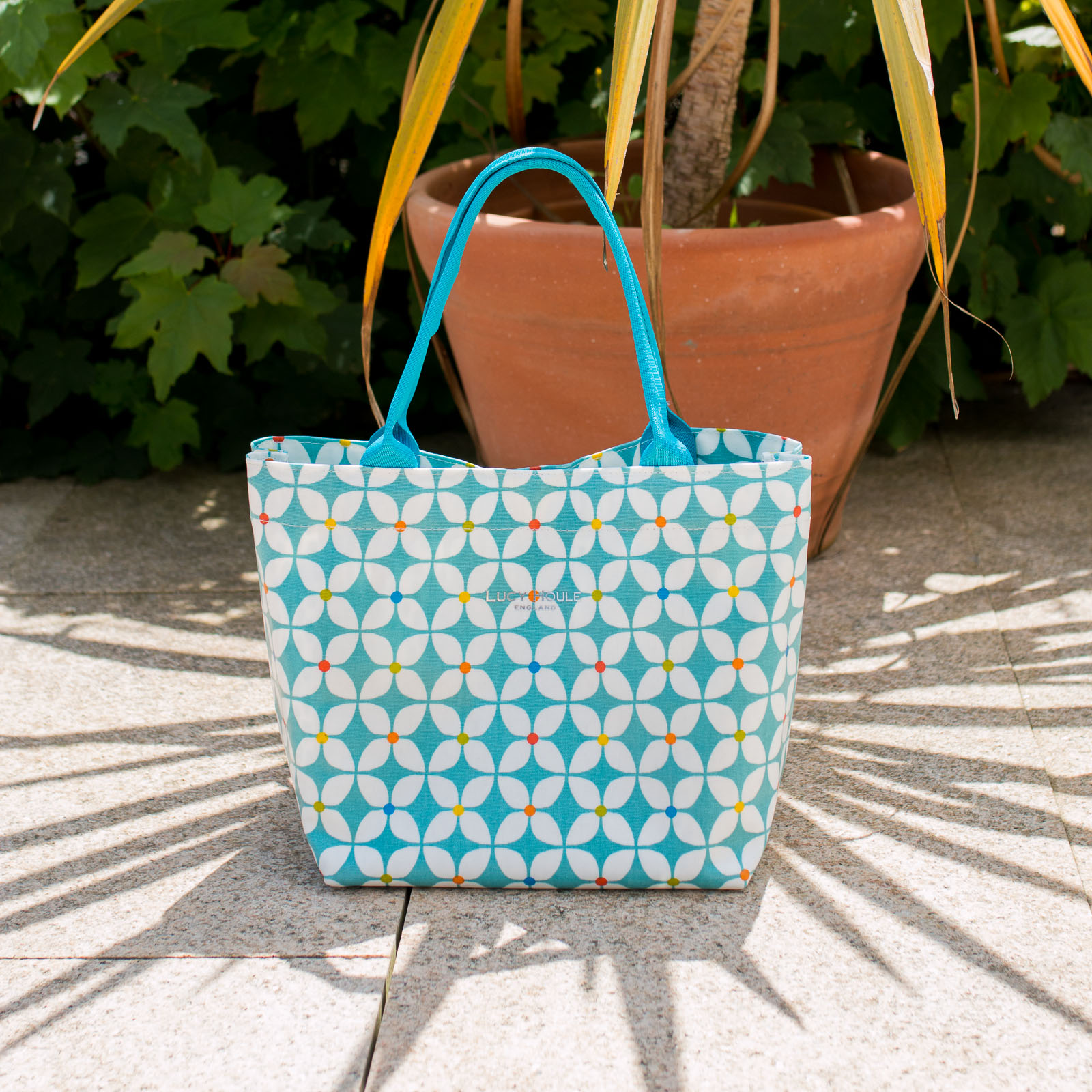 Modern Daisy Aqua Small Zip Tote Bag with Aqua Handles