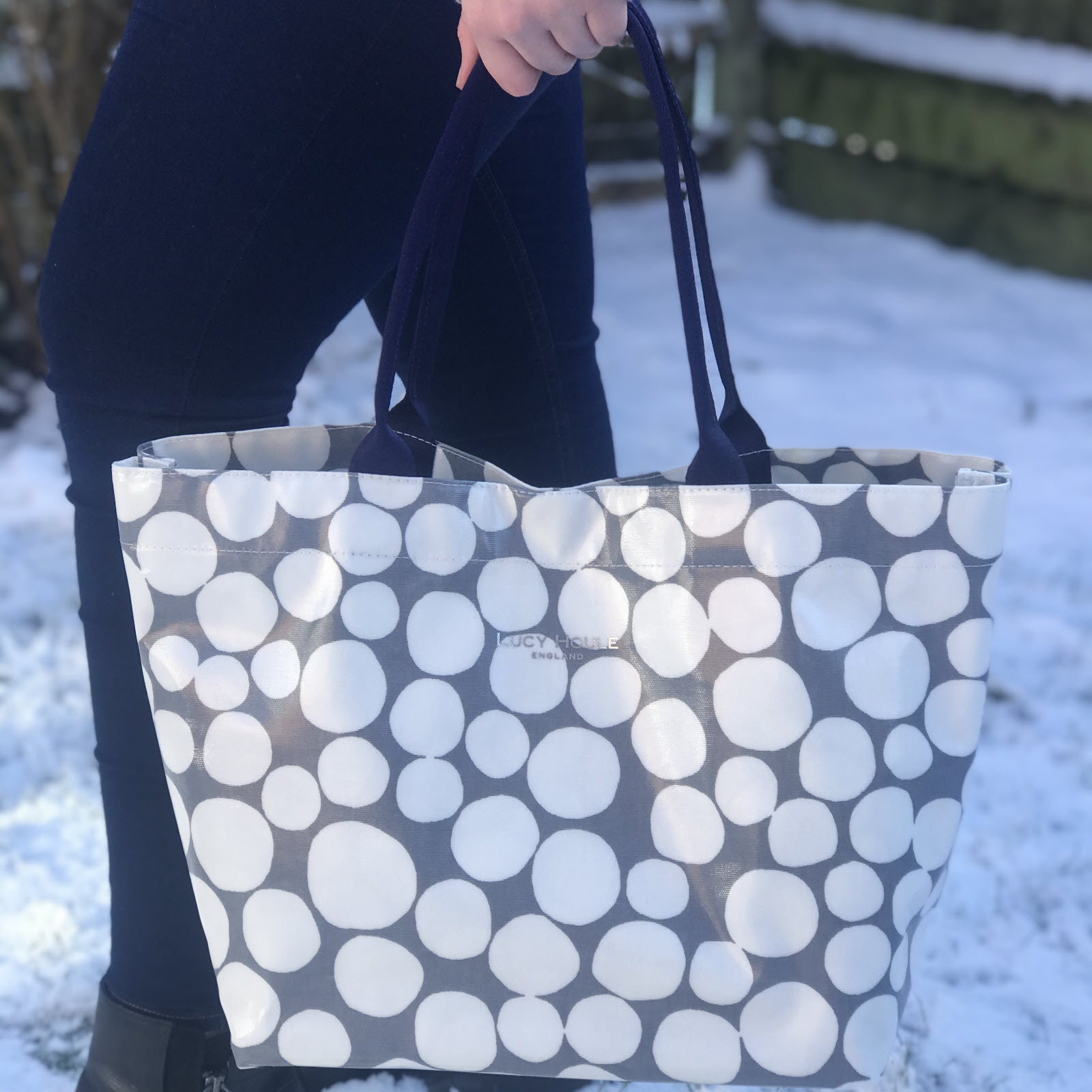 Dark Grey Pebble Medium Tote Bag with Navy Handles