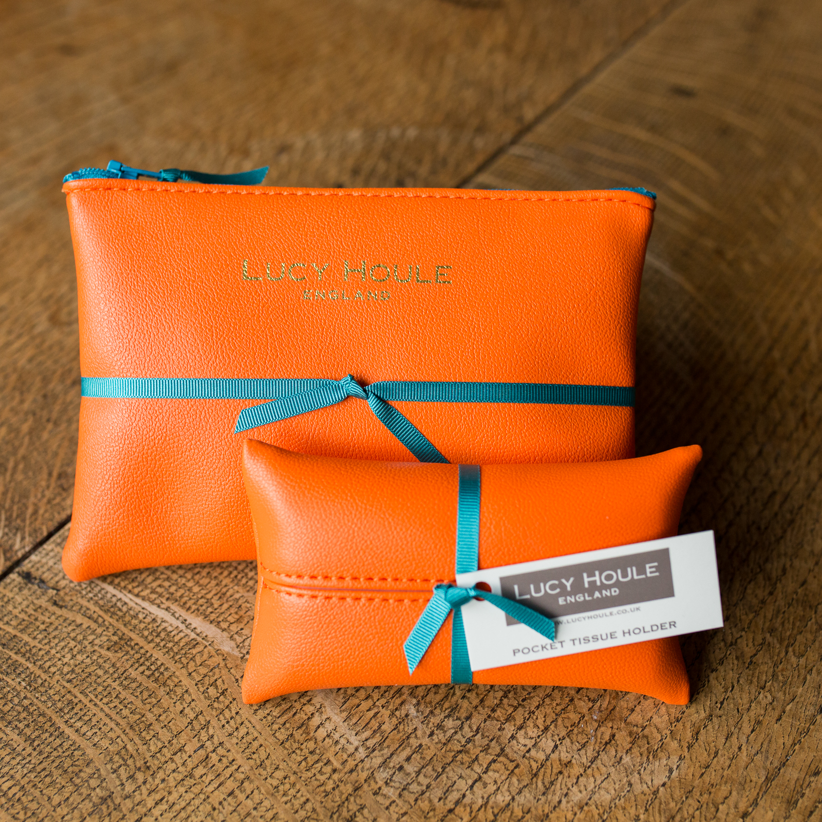 Faux Leather Orange Handbag Set Turquoise Zip