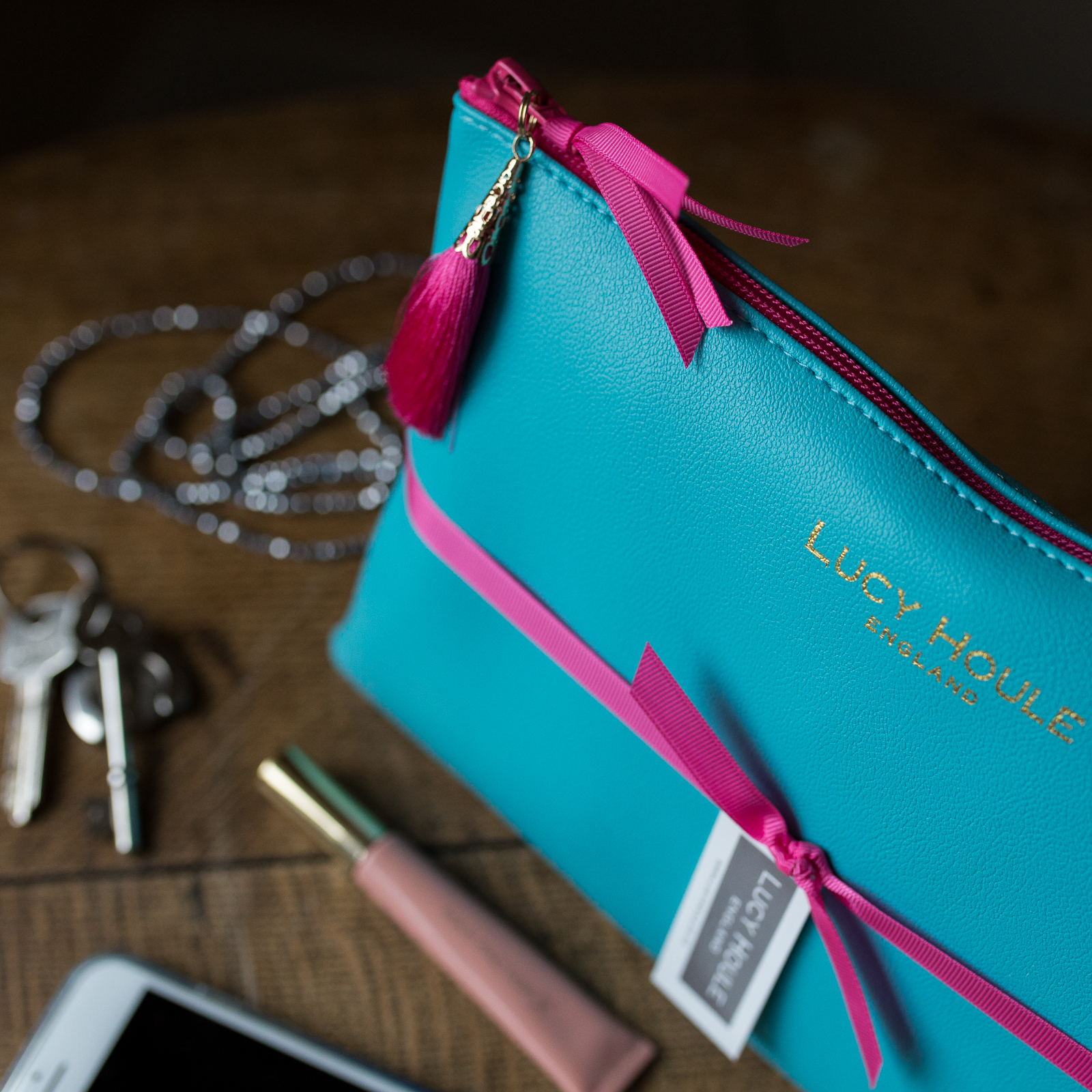 Faux Leather Turquoise Clutch