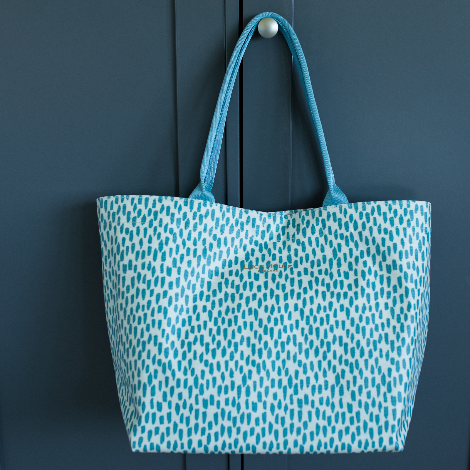 Aqua Cobblestone Medium Tote Bag with Aqua Handles