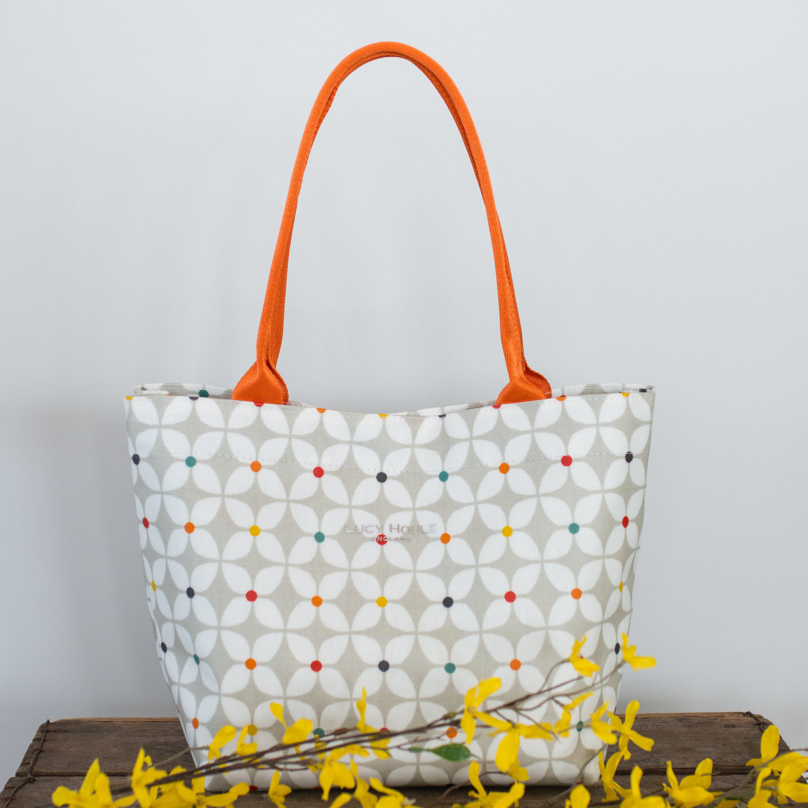Modern Daisy Taupe Small Tote Bag with Orange Handles