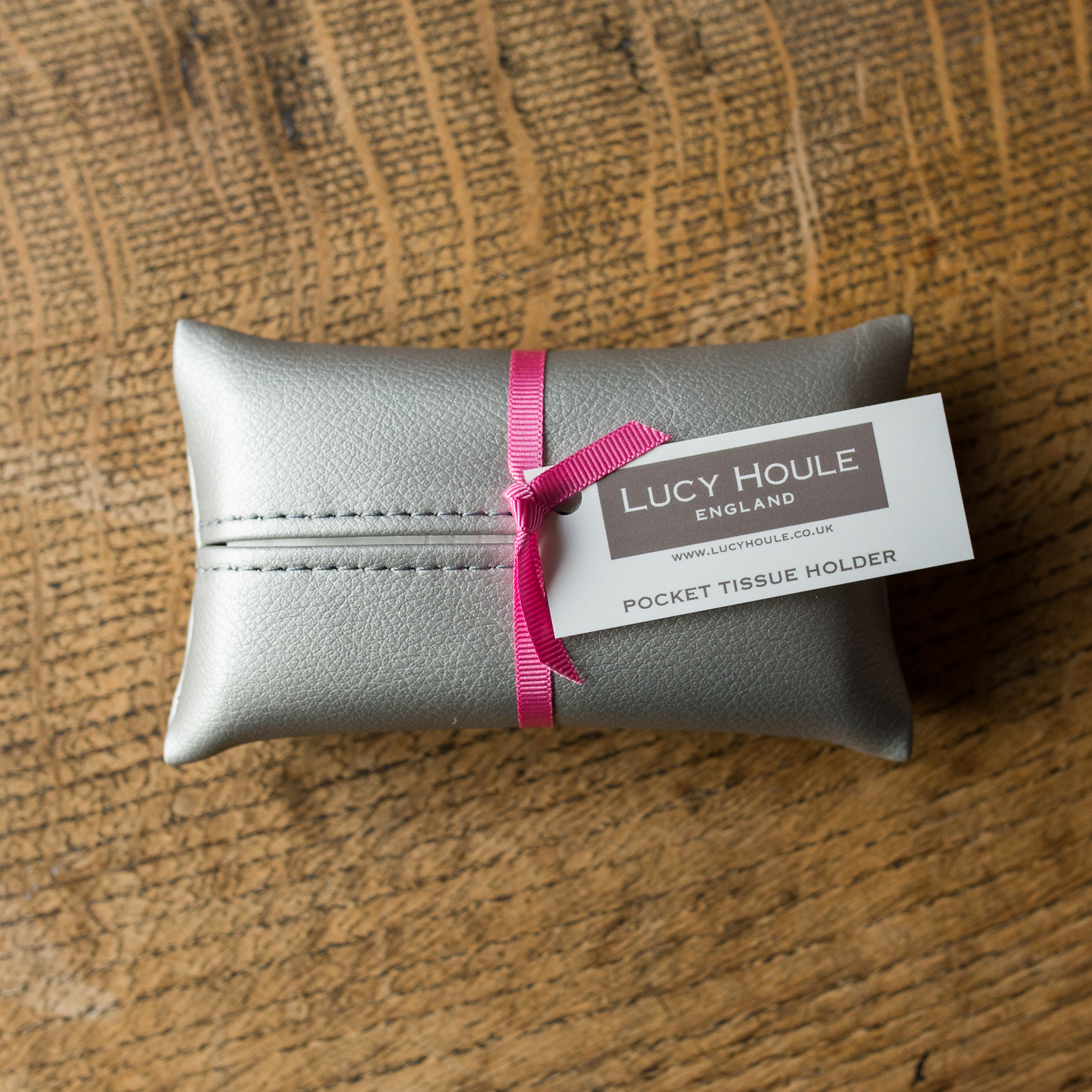 Faux Leather Silver Pocket Tissue Holder Pink