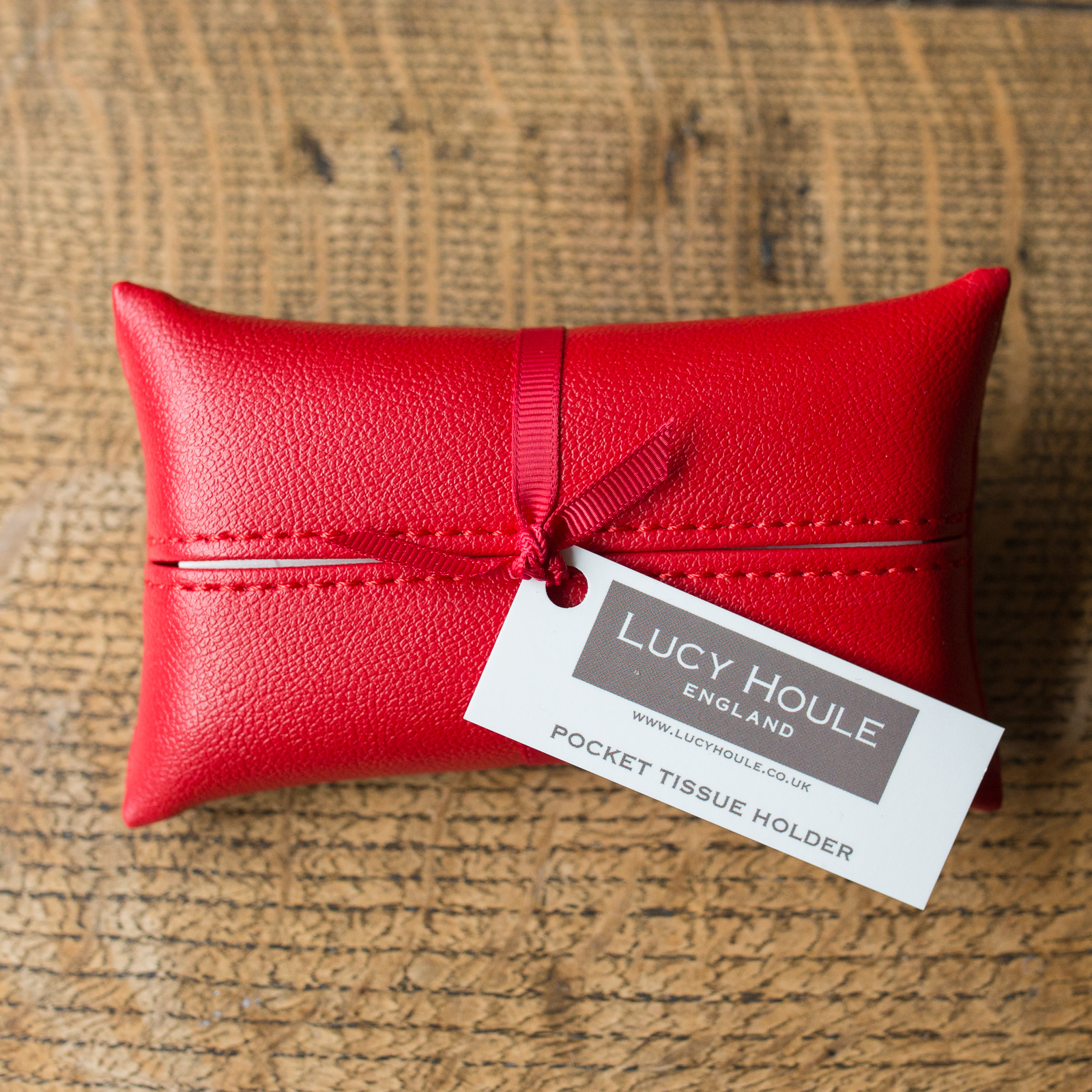 Faux Leather Red Pocket Tissue Holder