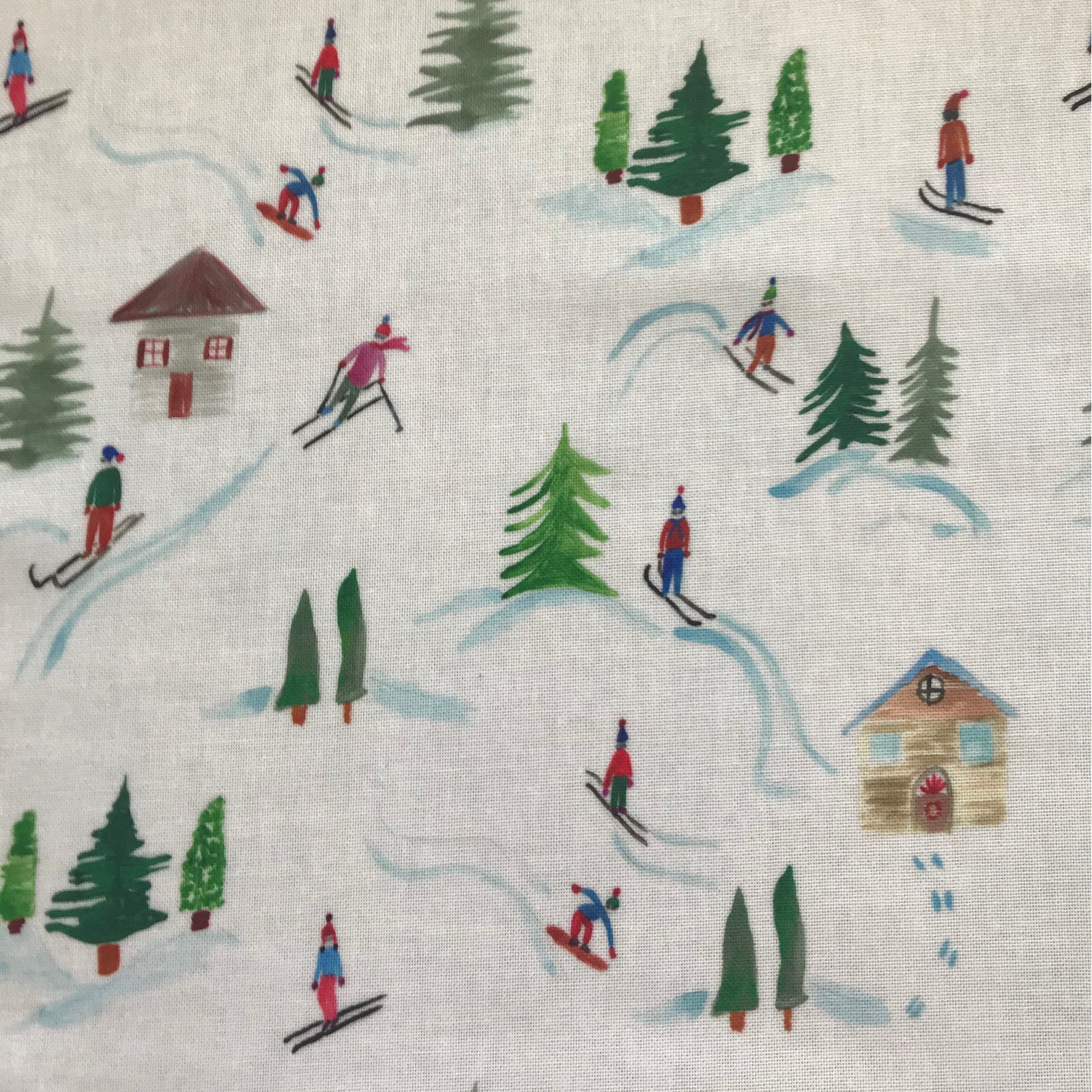 Skiing in the Trees Oilcloth by the metre