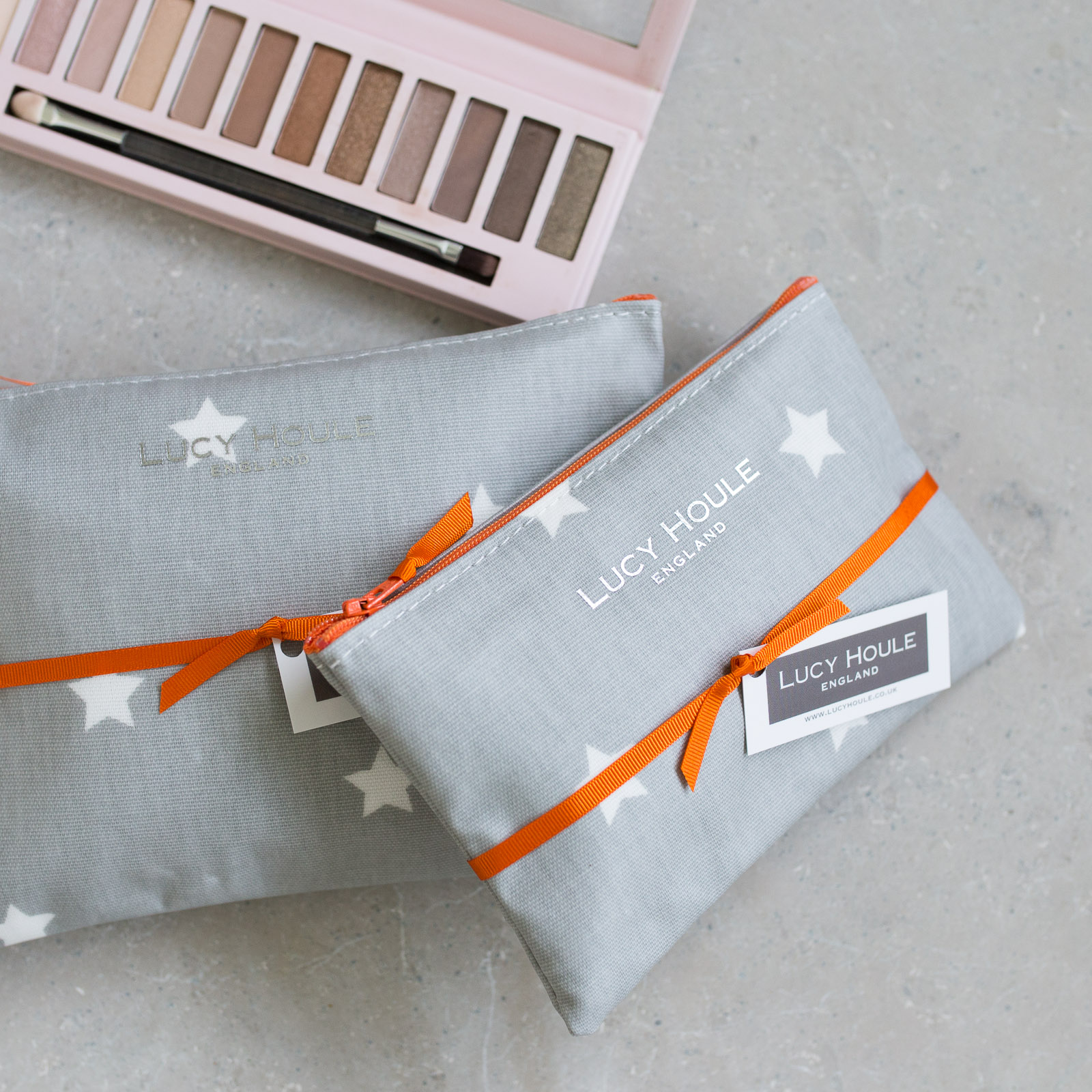 Grey & White Star Make-Up Bag with Orange Zip