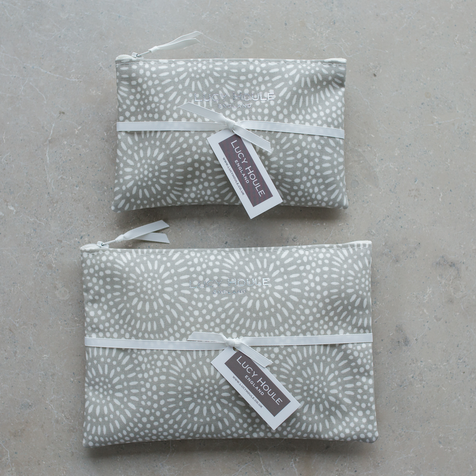 Stone Sunburst  Make-Up Bag with White Zip