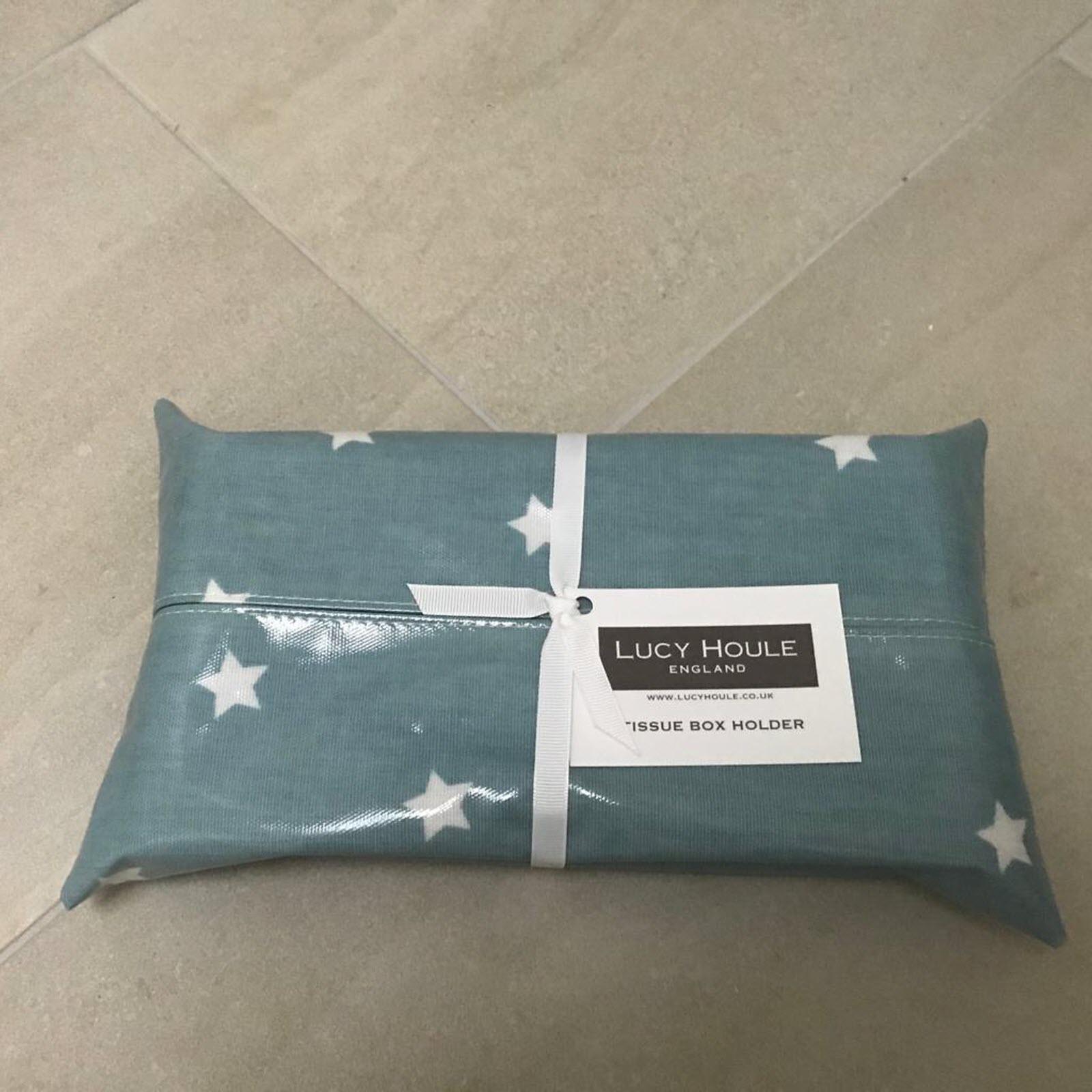 Duck Egg Blue Star Tissue Box Holder (Gloss)