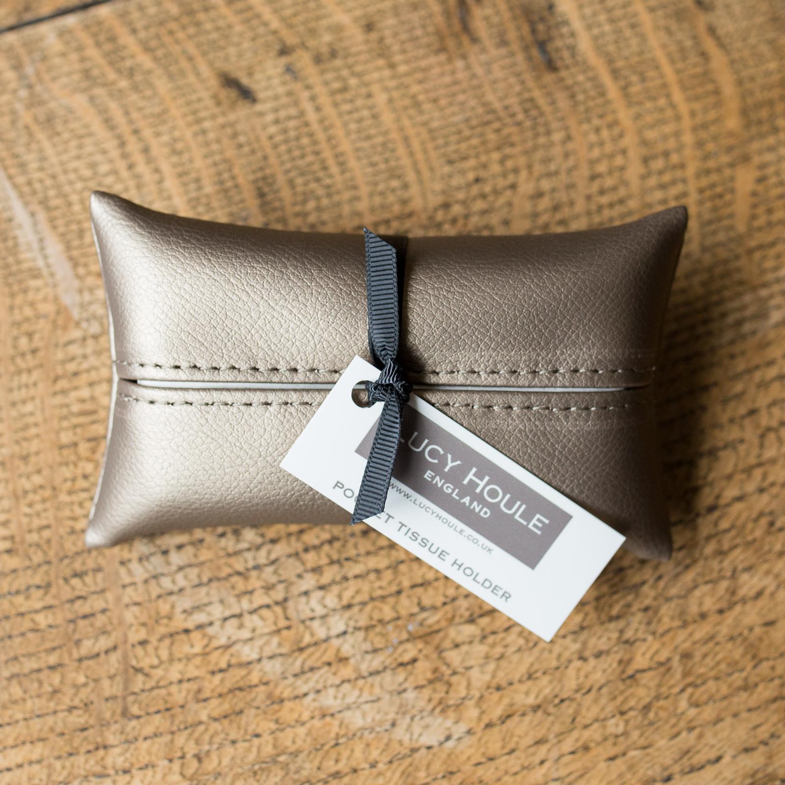 Faux Leather Bronze Pocket Tissue Holder black