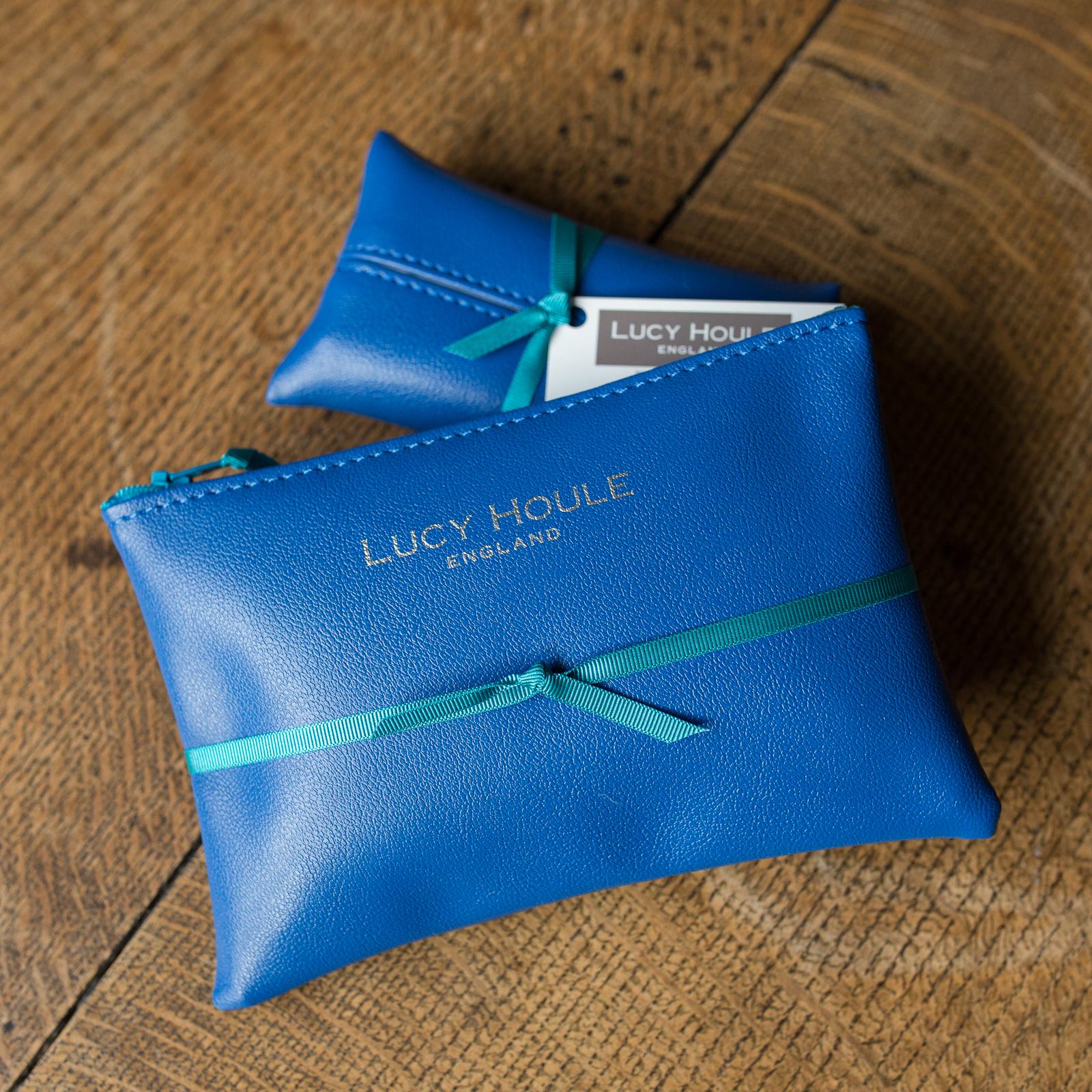 Faux Leather Cobalt Blue Handbag Set Turquoise Zip