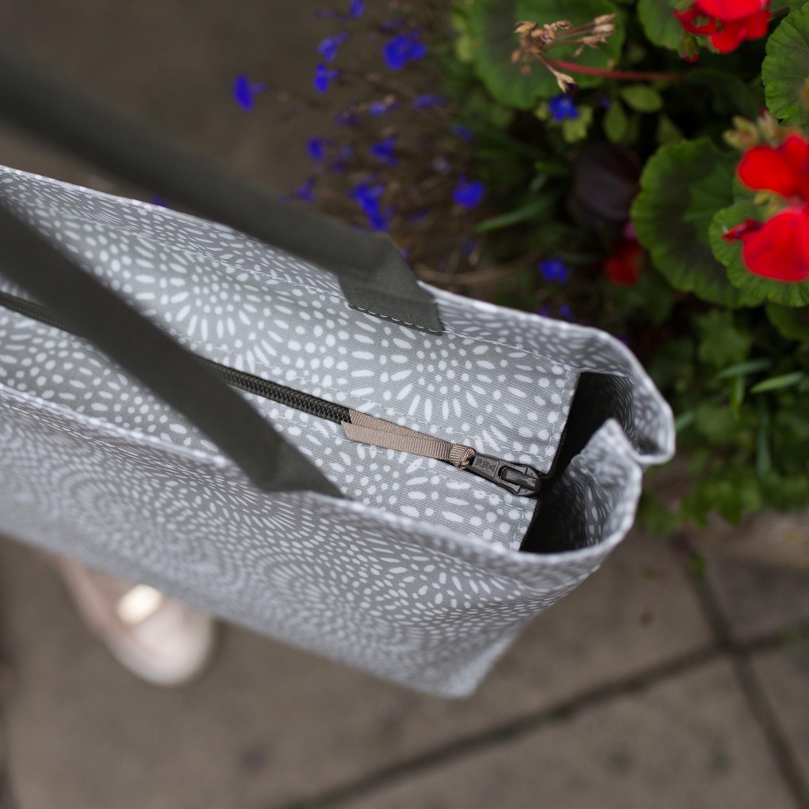 Stone Sunburst Medium Zip Tote Bag with Khaki Handles