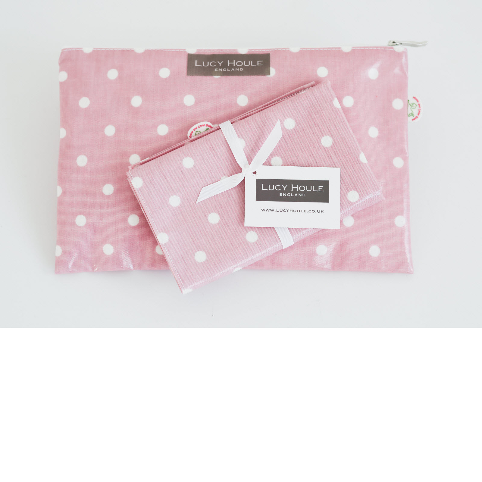 Pink and White Spot Baby Changing Clutch Bag