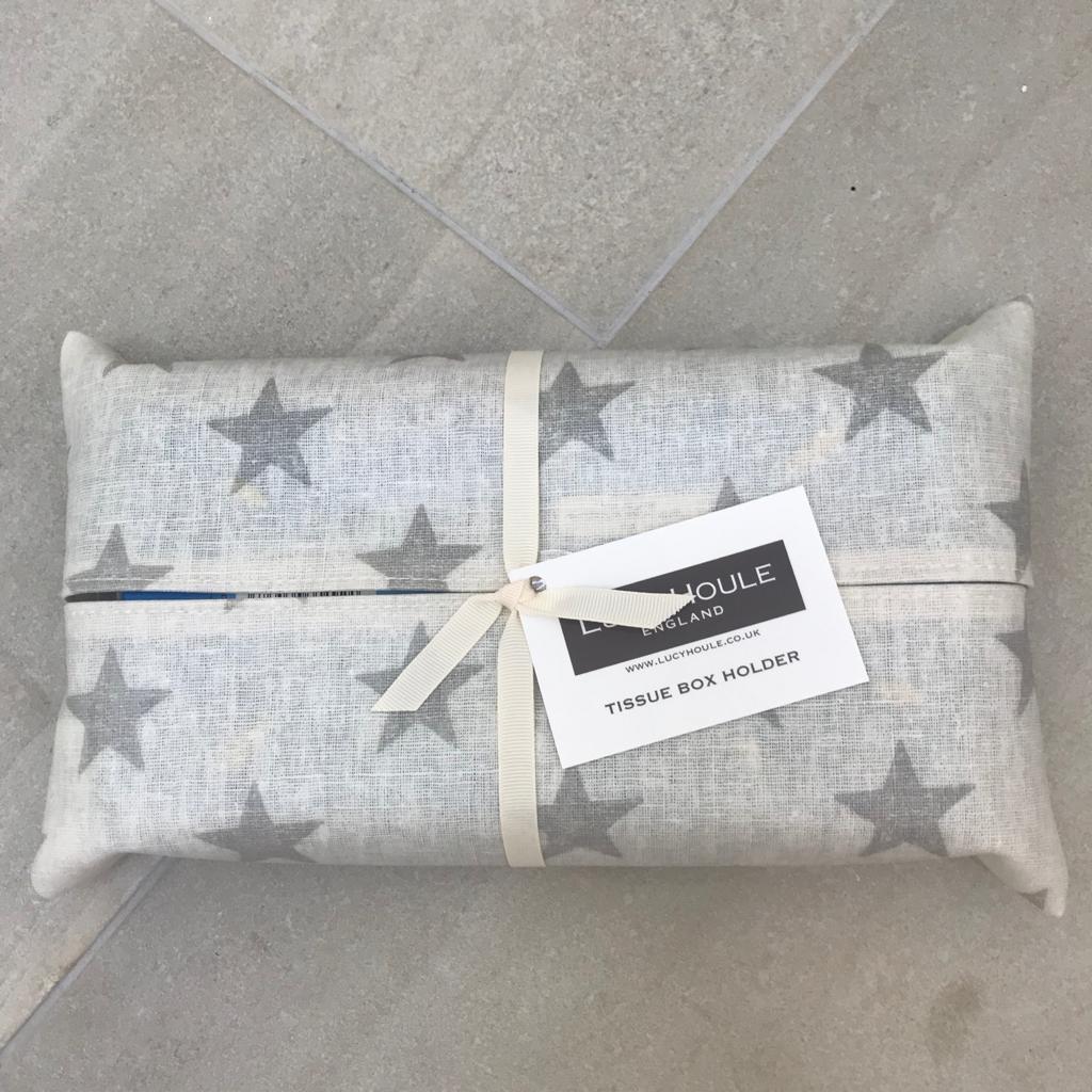 Cream & Grey Star Tissue Box Holder
