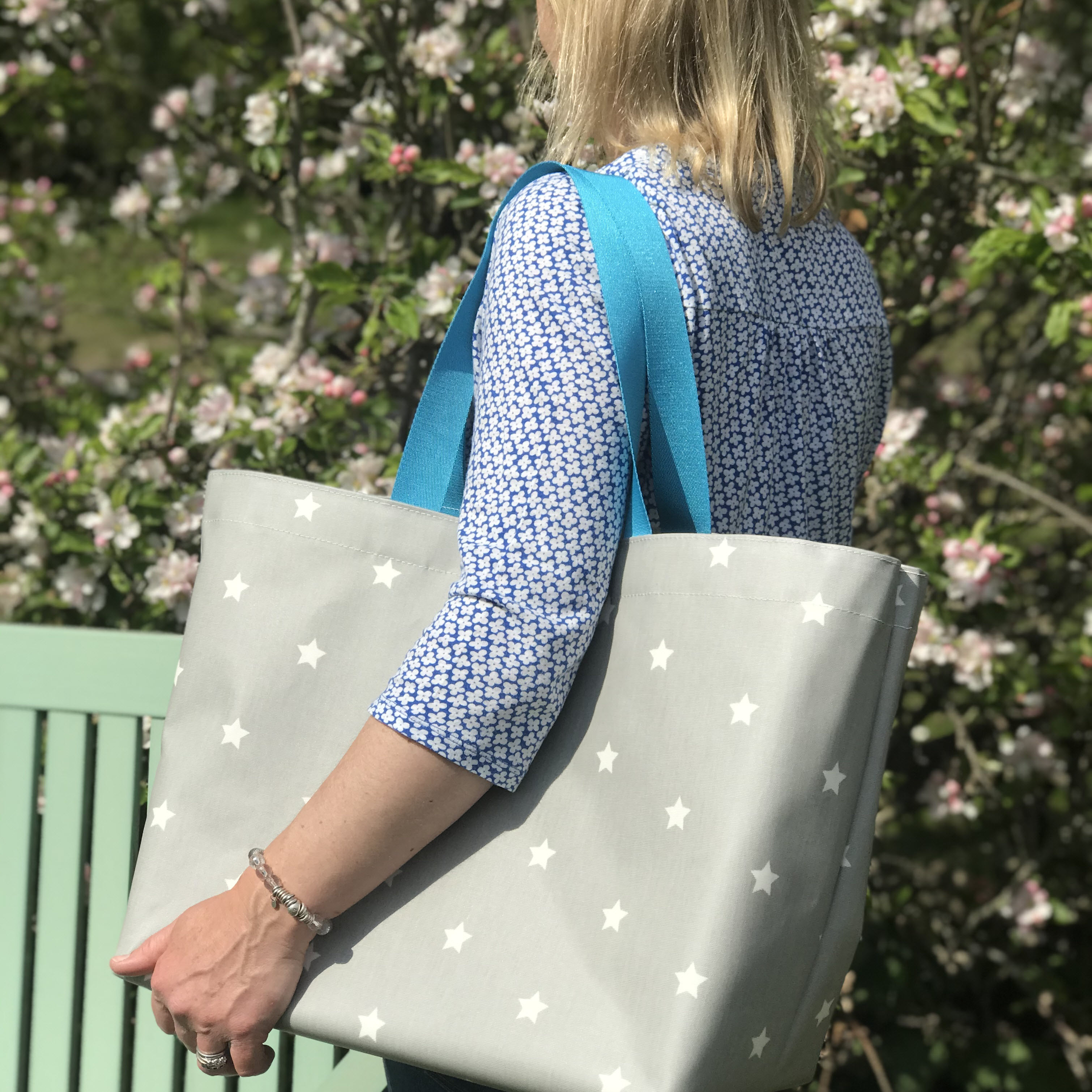 Grey & White Star Extra Large Bag with New flat Turquoise Handles