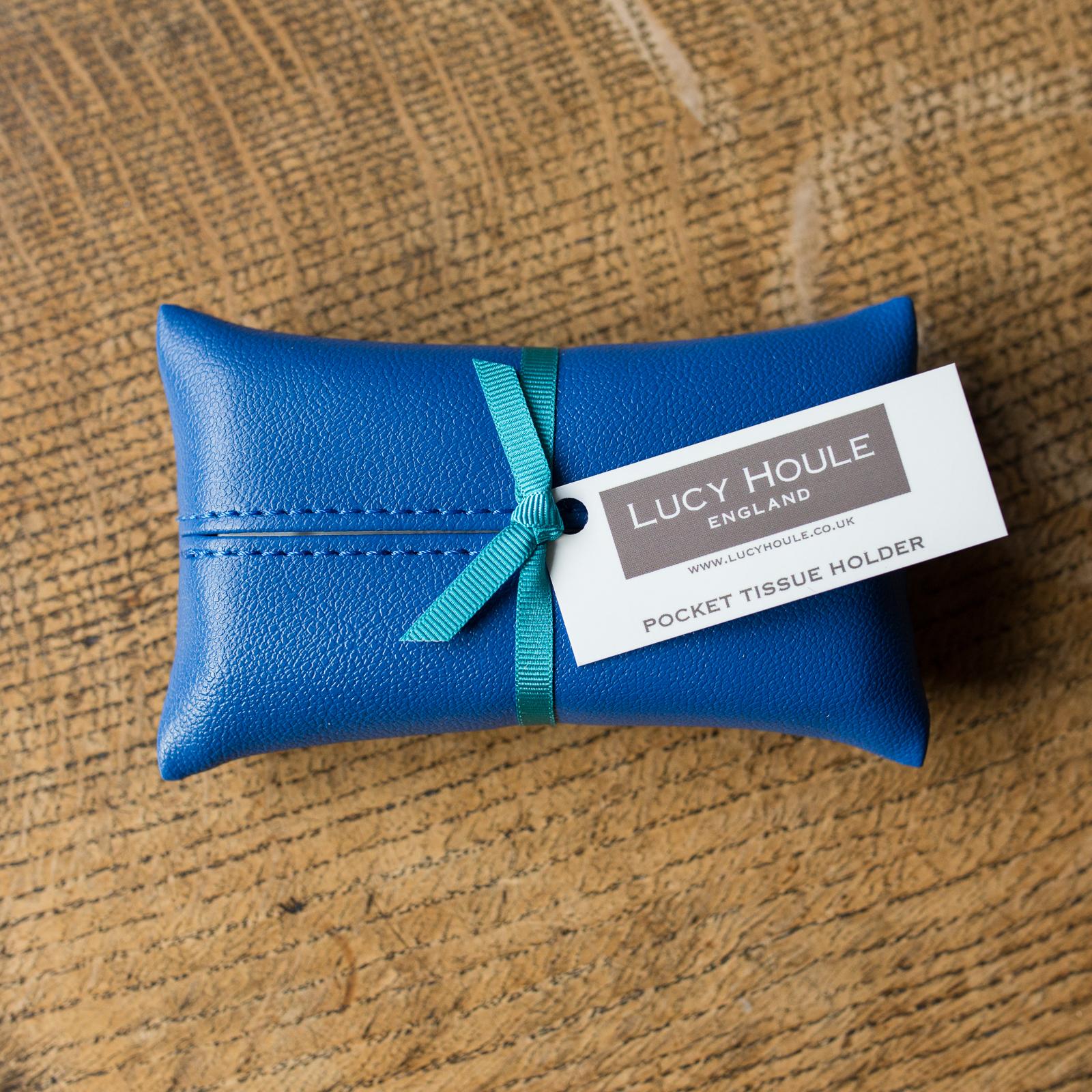 Faux Leather Cobalt Blue Pocket Tissue Holder Turquioise