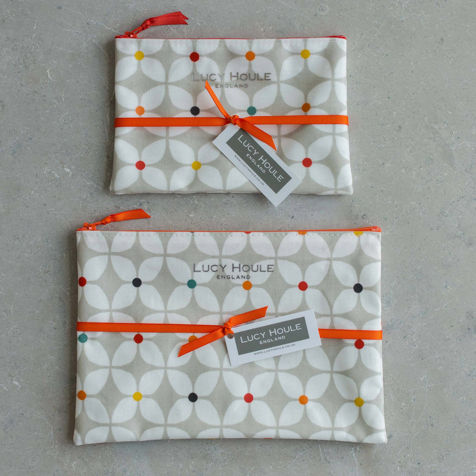 Modern Daisy Taupe Make-Up Bag with Orange Zip
