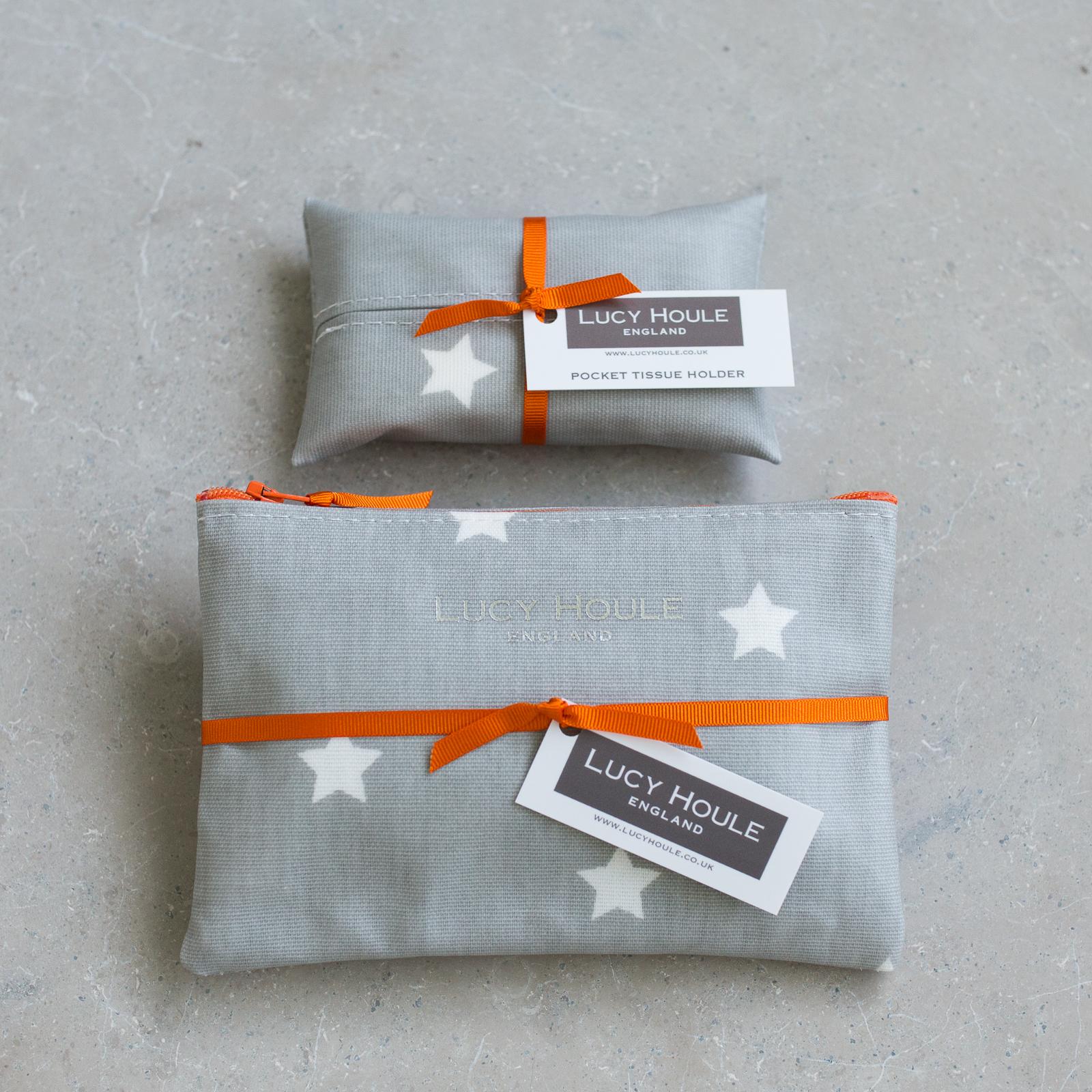 Grey & White Star Handbag Set Orange Zip