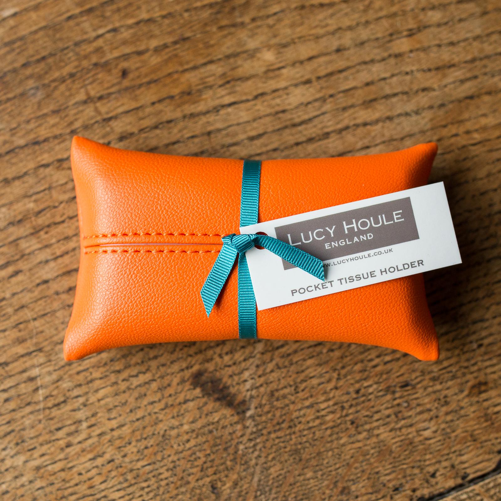 Faux Leather Orange Pocket Tissue Holder Turquoise