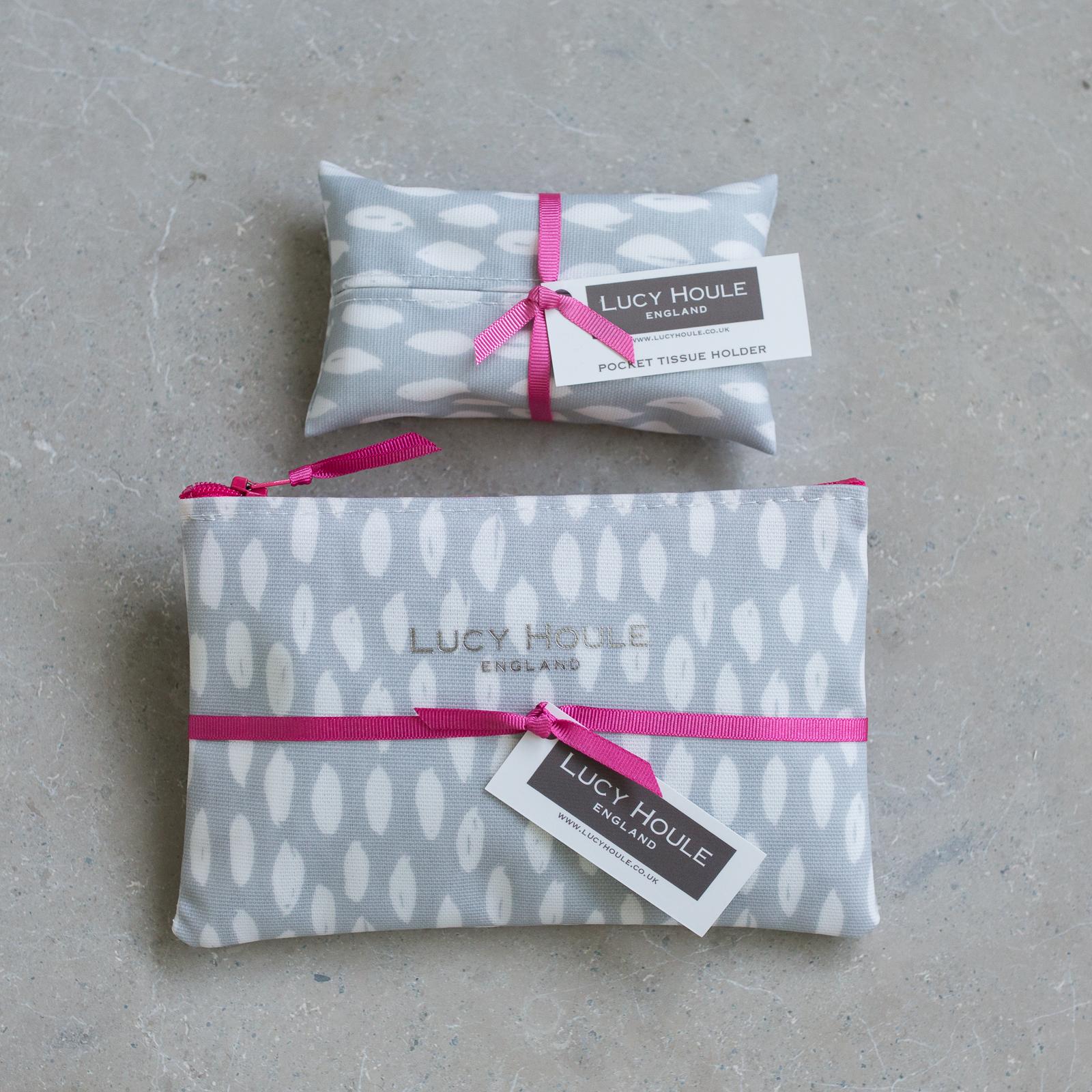 Grey Feather Handbag Set Pink Zip