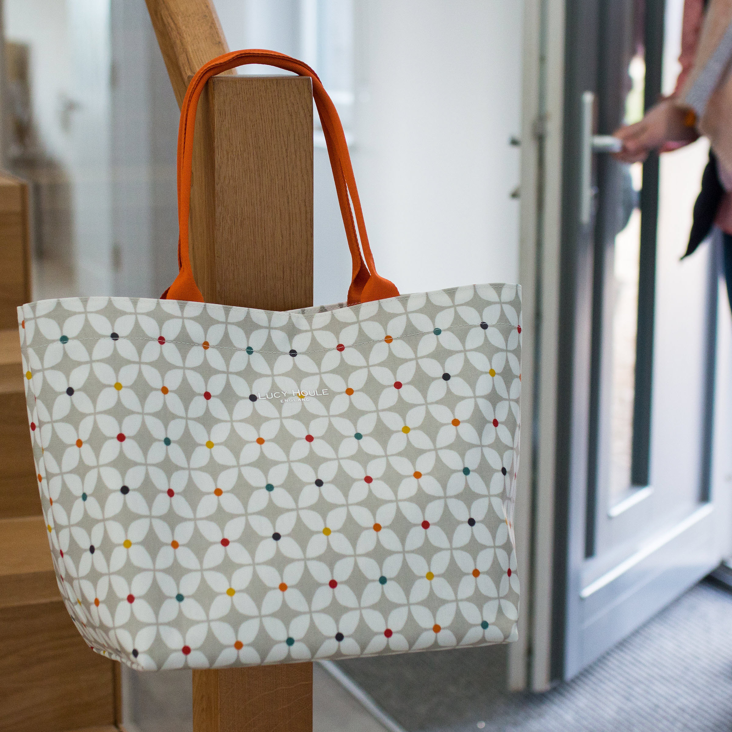 Modern Daisy Taupe Medium Tote Bag with Orange Handles