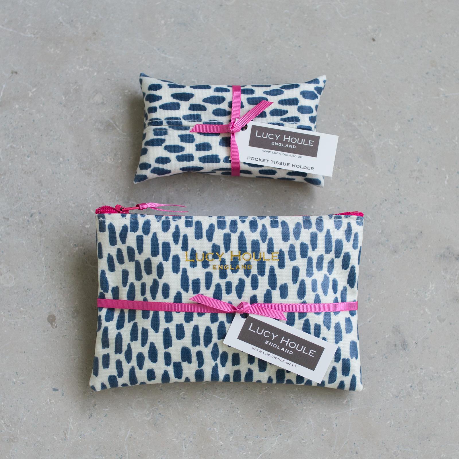 Navy Cobblestone Handbag Set Pink Zip