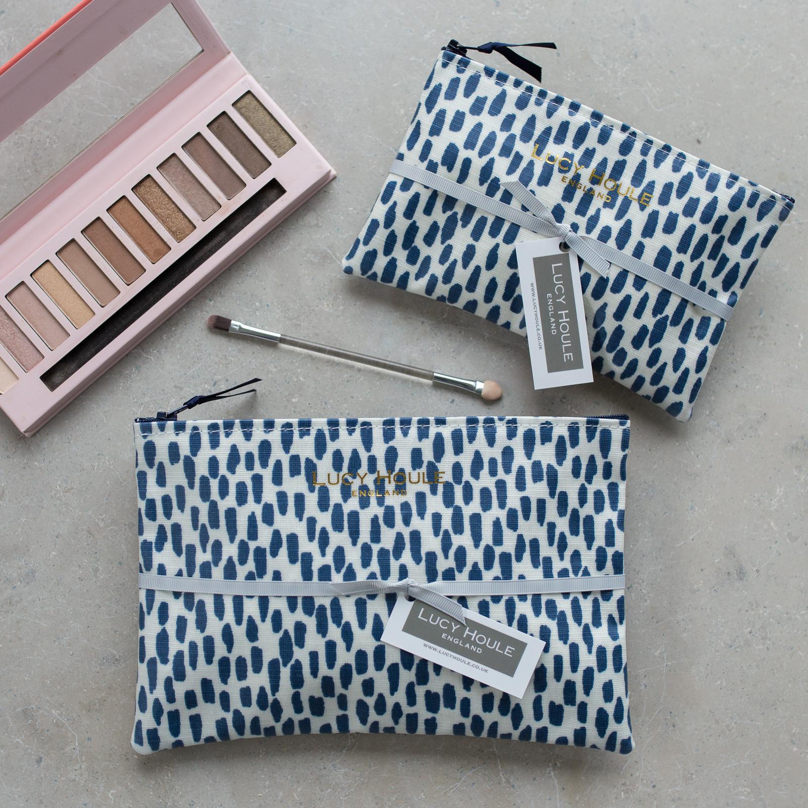 Navy Cobblestone Make-Up Bag with Navy Zip
