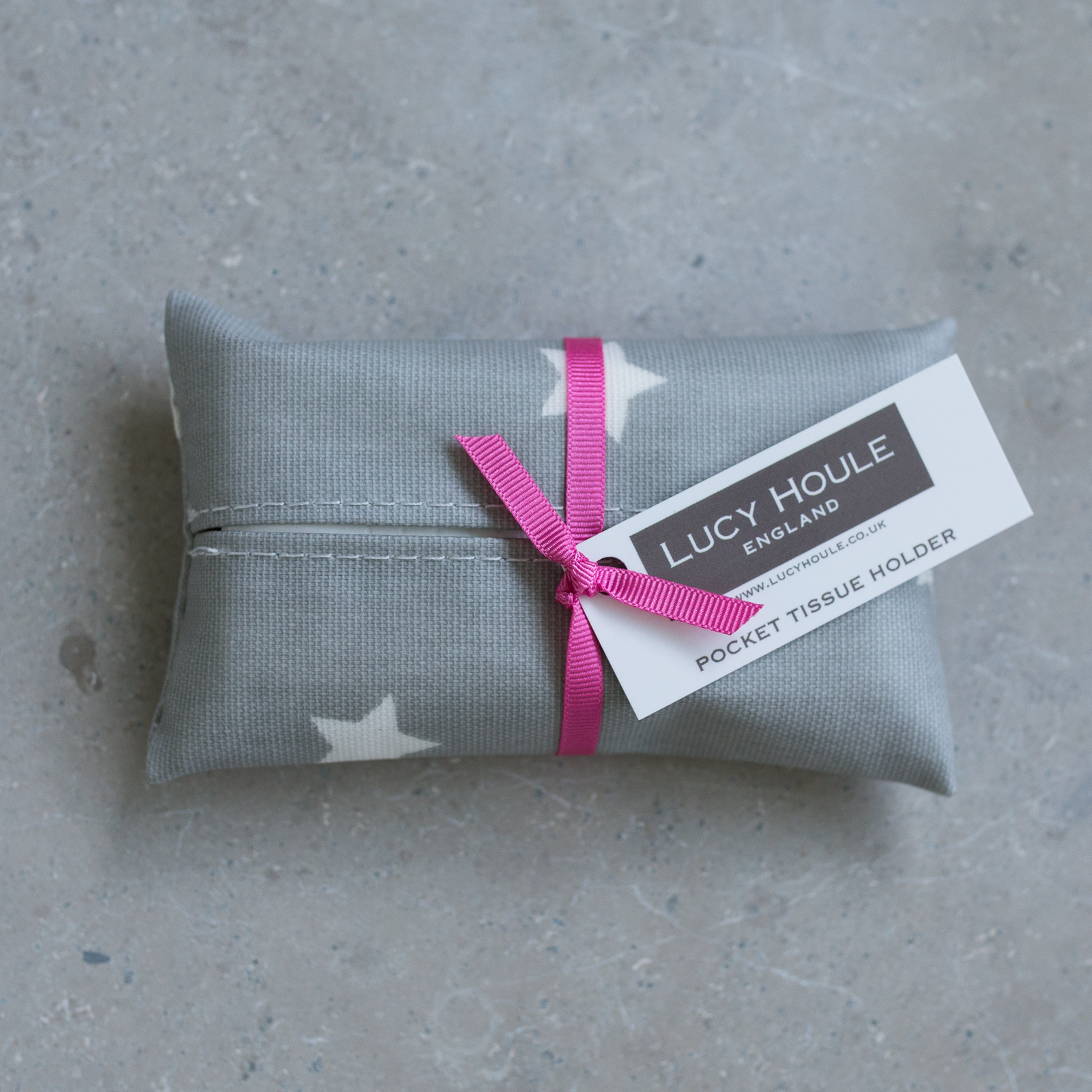 Grey & White Star Pocket Tissue Holder Pink