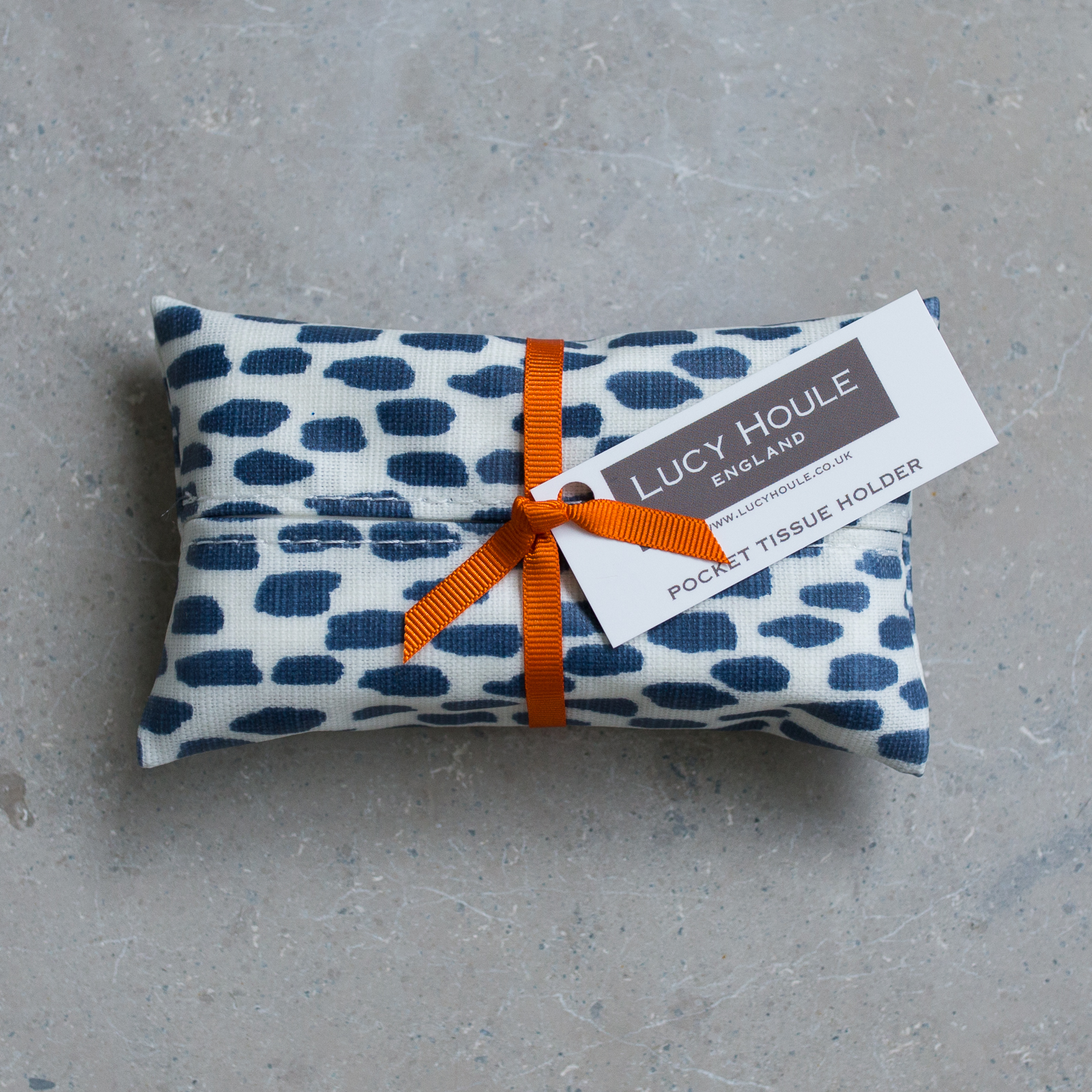 Navy Cobblestone Pocket Tissue Holder Orange