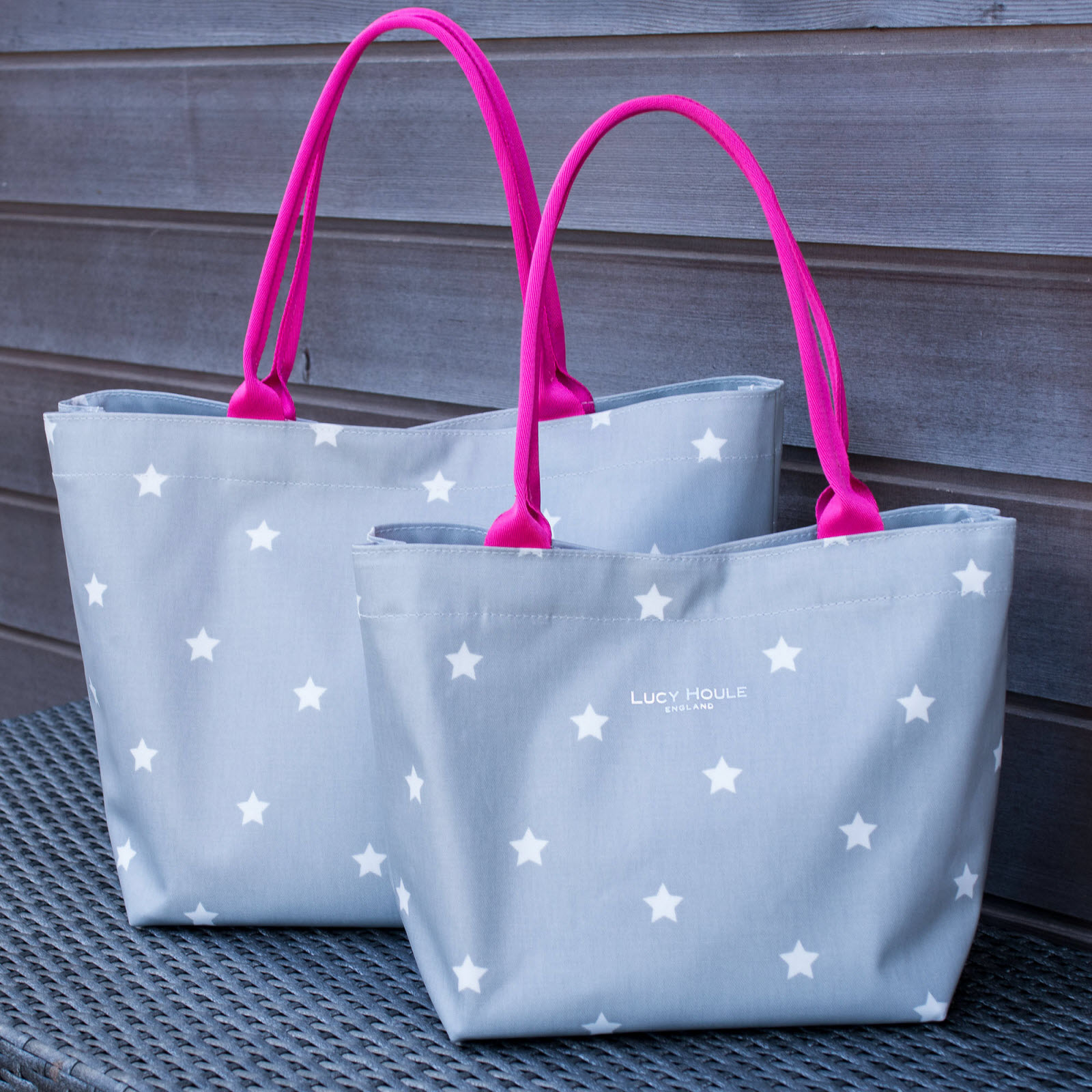 Grey & White Star Medium Tote Bag with bright pink handles