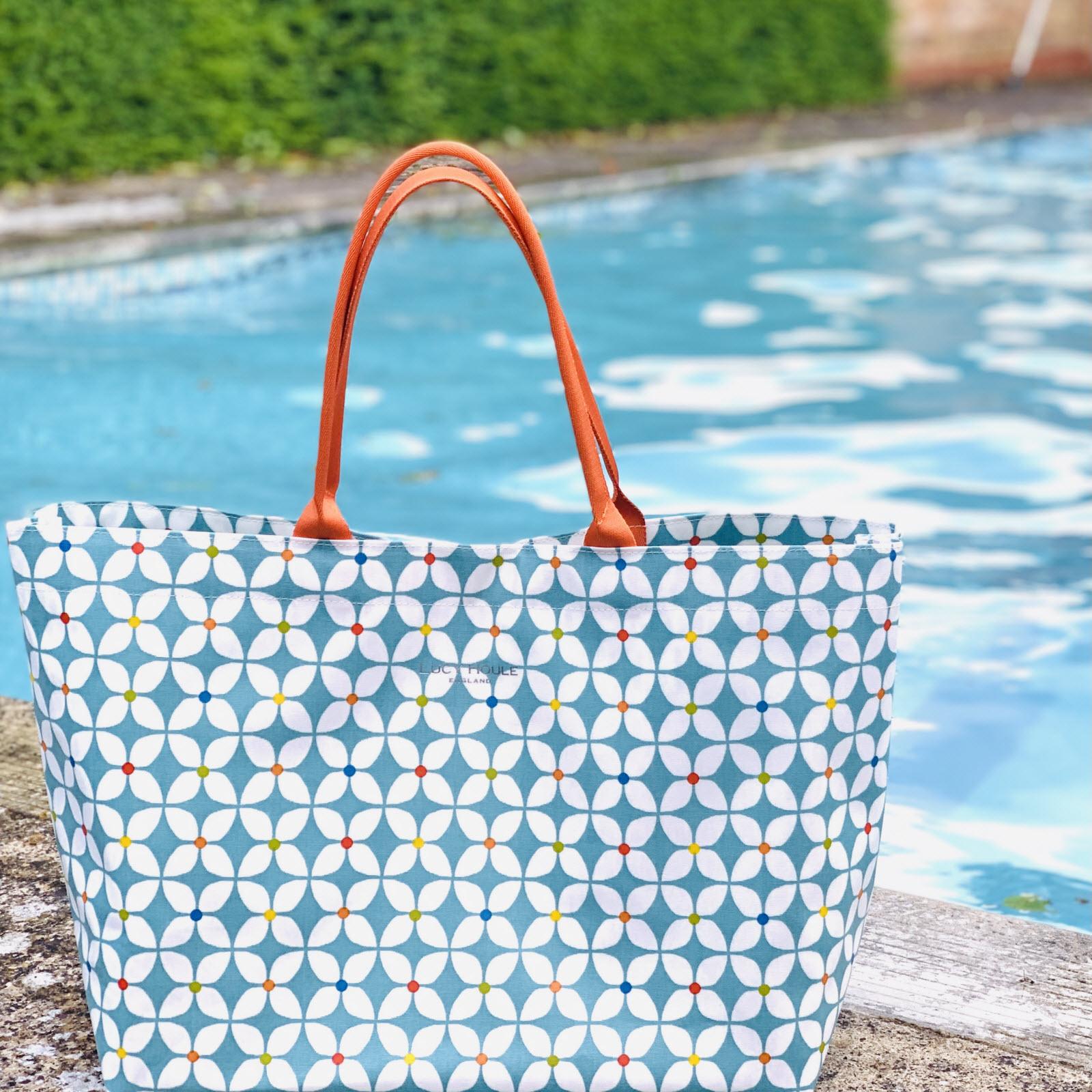 Modern Daisy Aqua Extra Large Tote Bag with Orange Handles