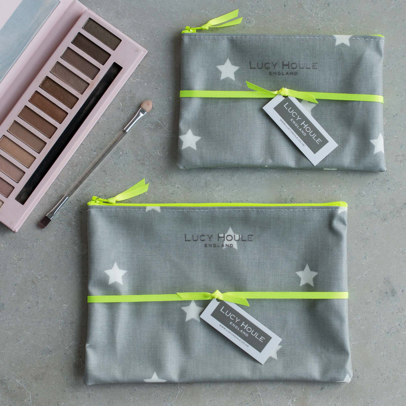 Grey & White Star Make-Up Bag with Yellow Neon Zip 'Limited Edition'