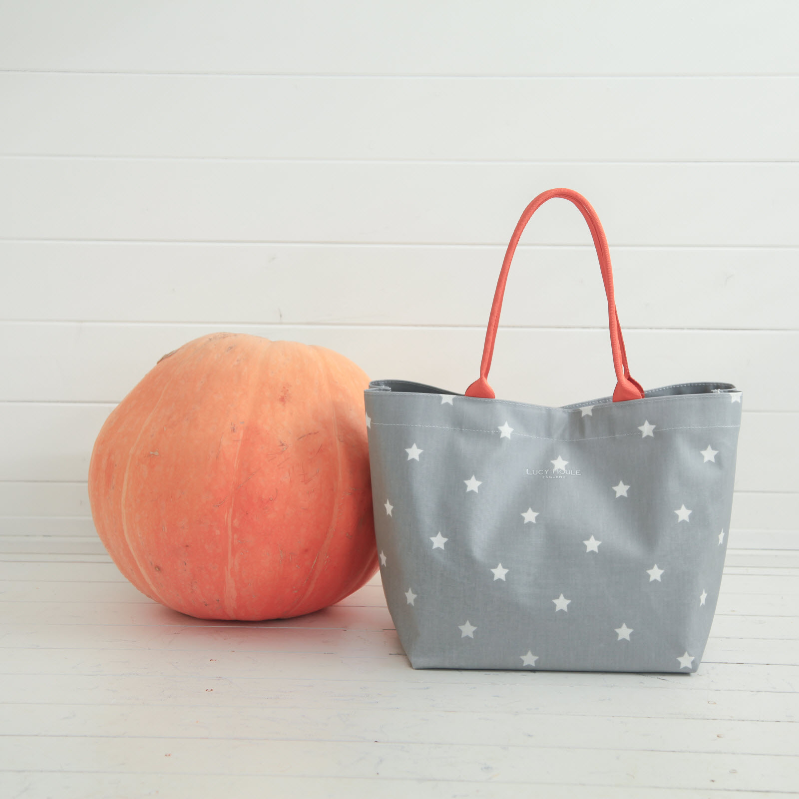 Grey & White Star Medium Tote Bag with Orange Handles