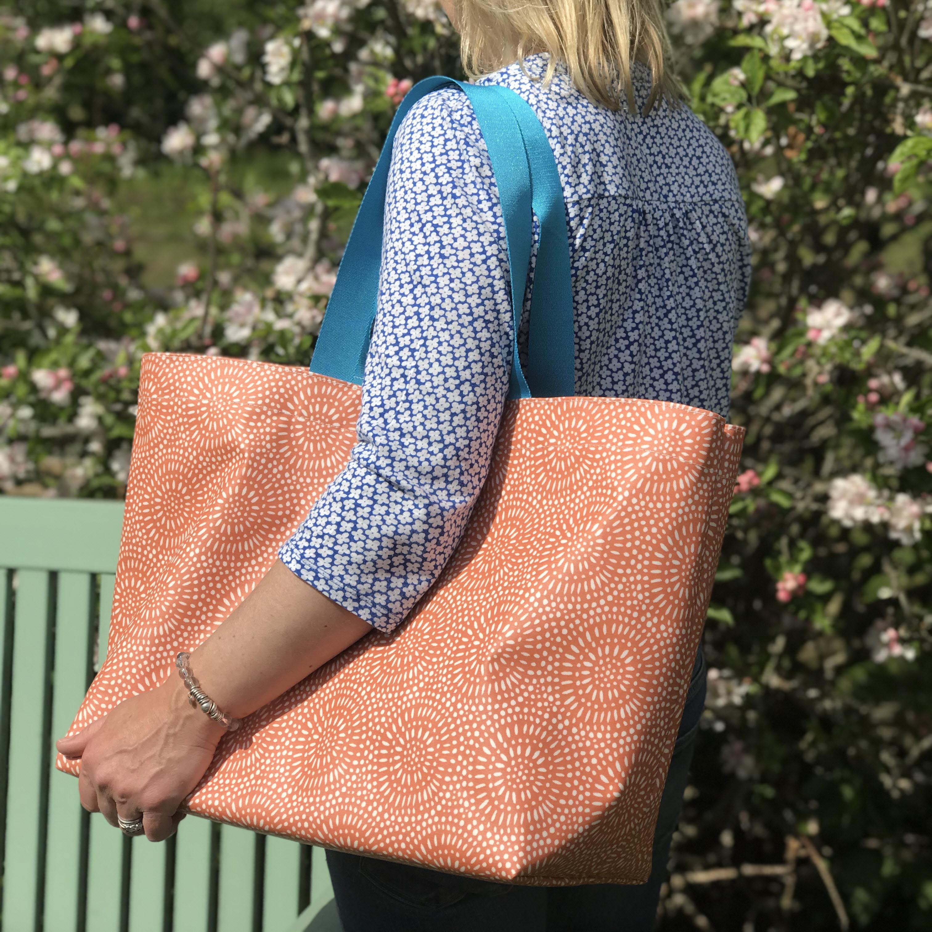 Amber Sunburst Extra Large Bag with New flat Turquoise Handles