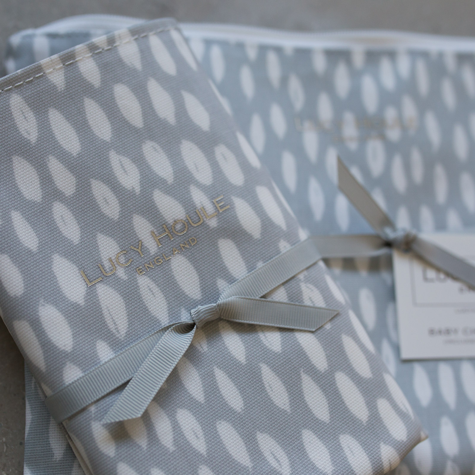 Grey Feather Baby Changing Set