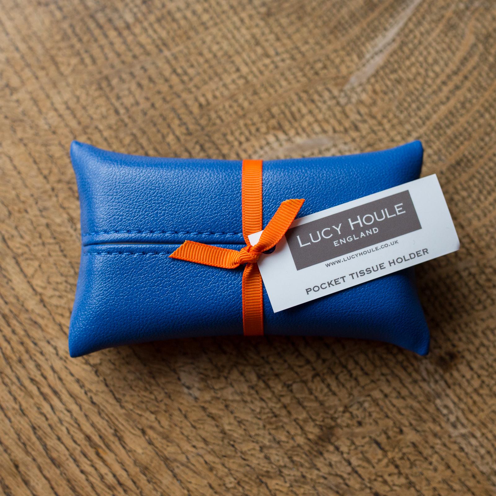 Faux Leather Cobalt Blue Pocket Tissue Holder Orange