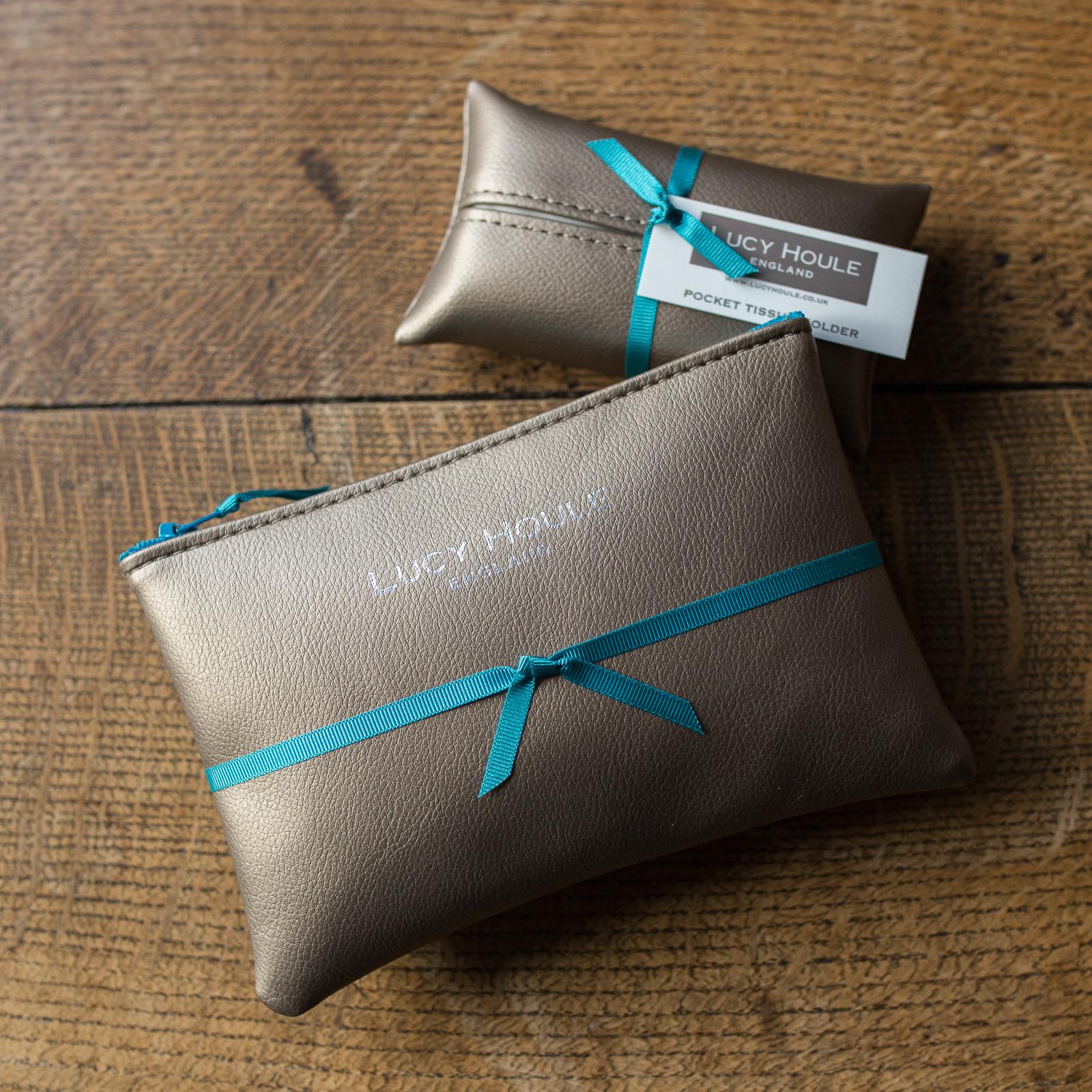 Faux Leather Bronze Handbag Set Turquoise Zip