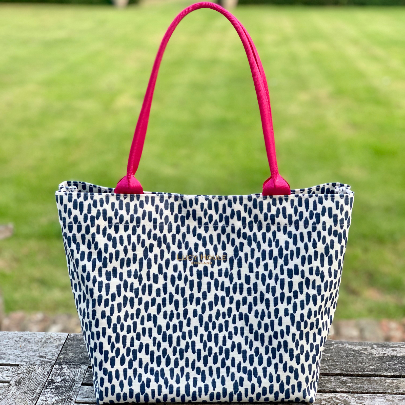 Navy Cobblestone Small Tote Bag with Pink Handles
