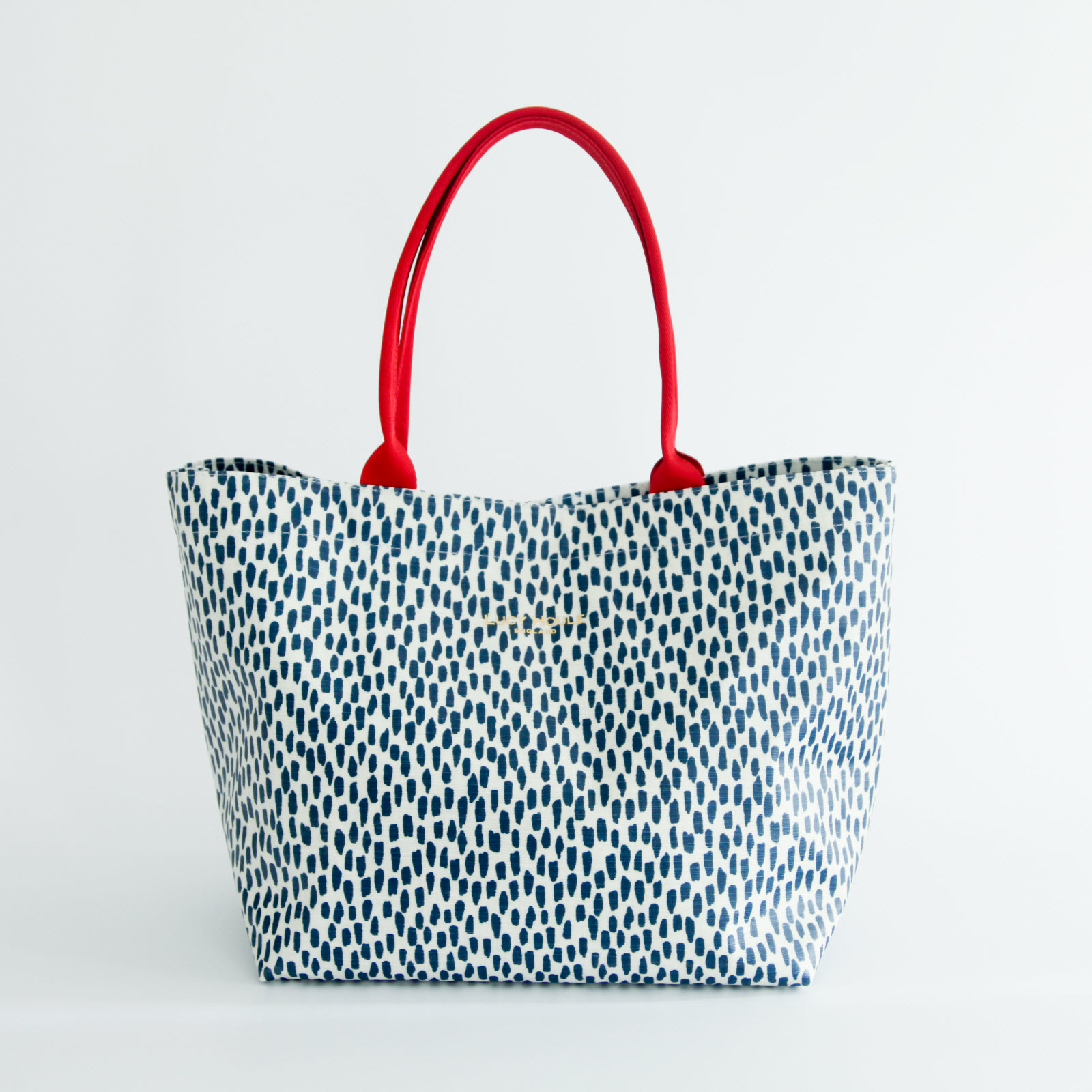 Navy Cobblestone Medium Tote Bag with Red Handles