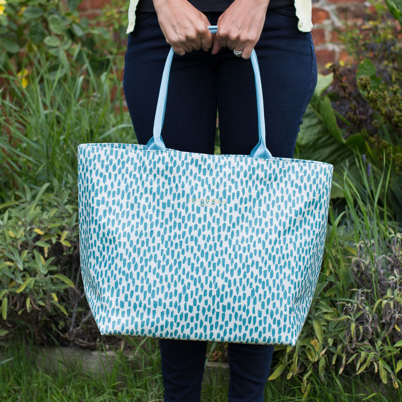 Aqua Cobblestone Medium Zip Tote Bag with Aqua Handles