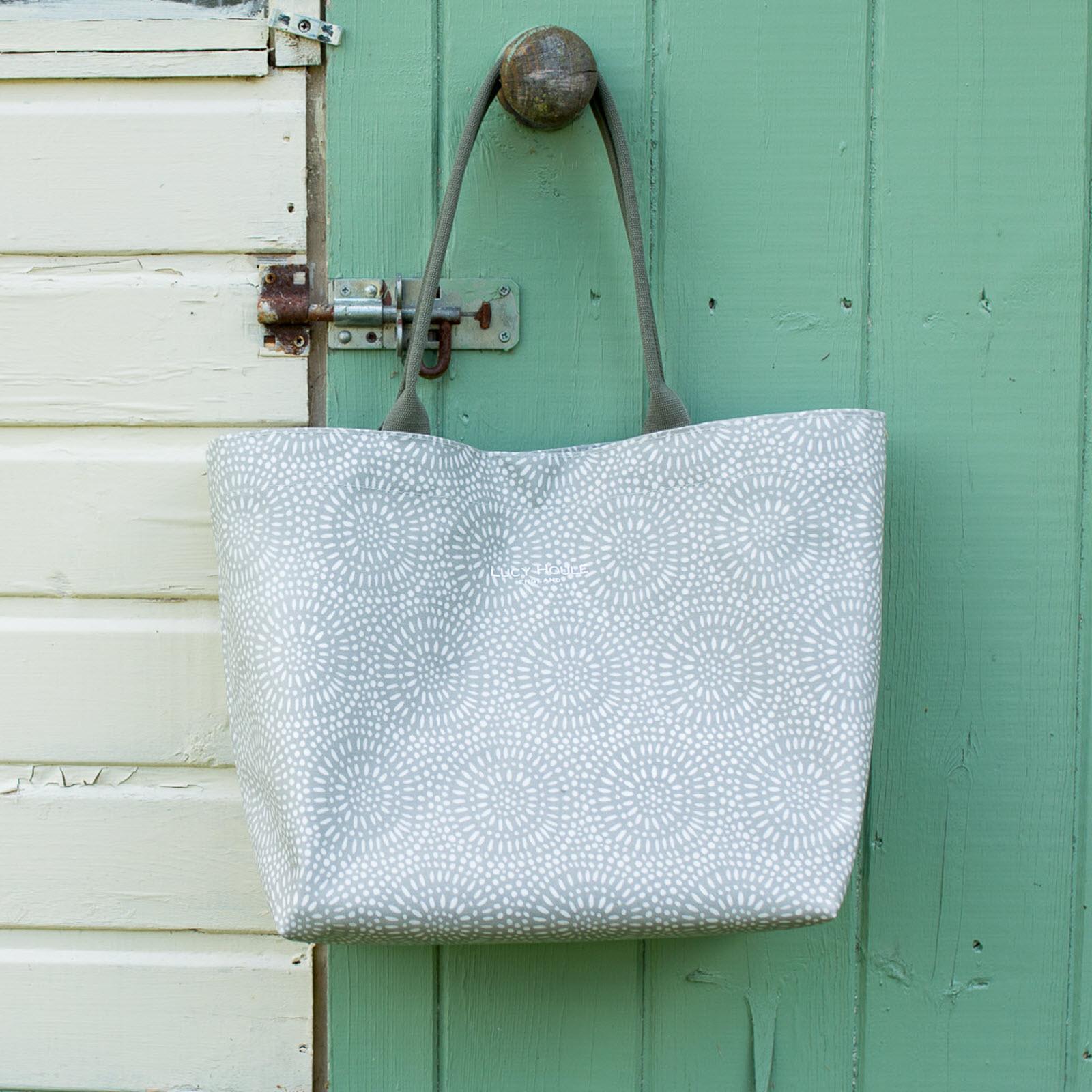 Stone Sunburst Medium Tote Bag with Khaki Handles